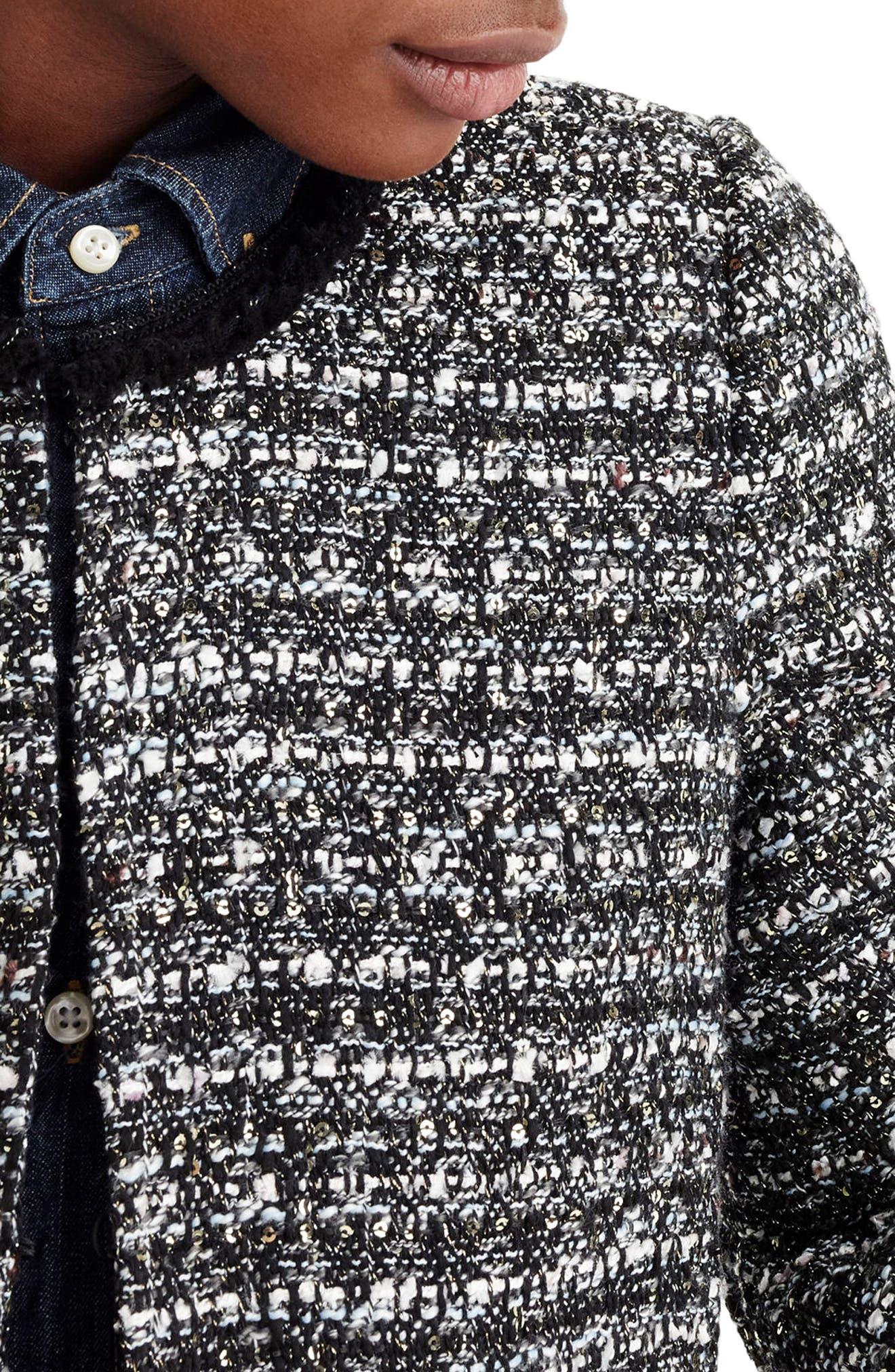 Belle Sequin Tweed Jacket,                             Alternate thumbnail 3, color,                             009