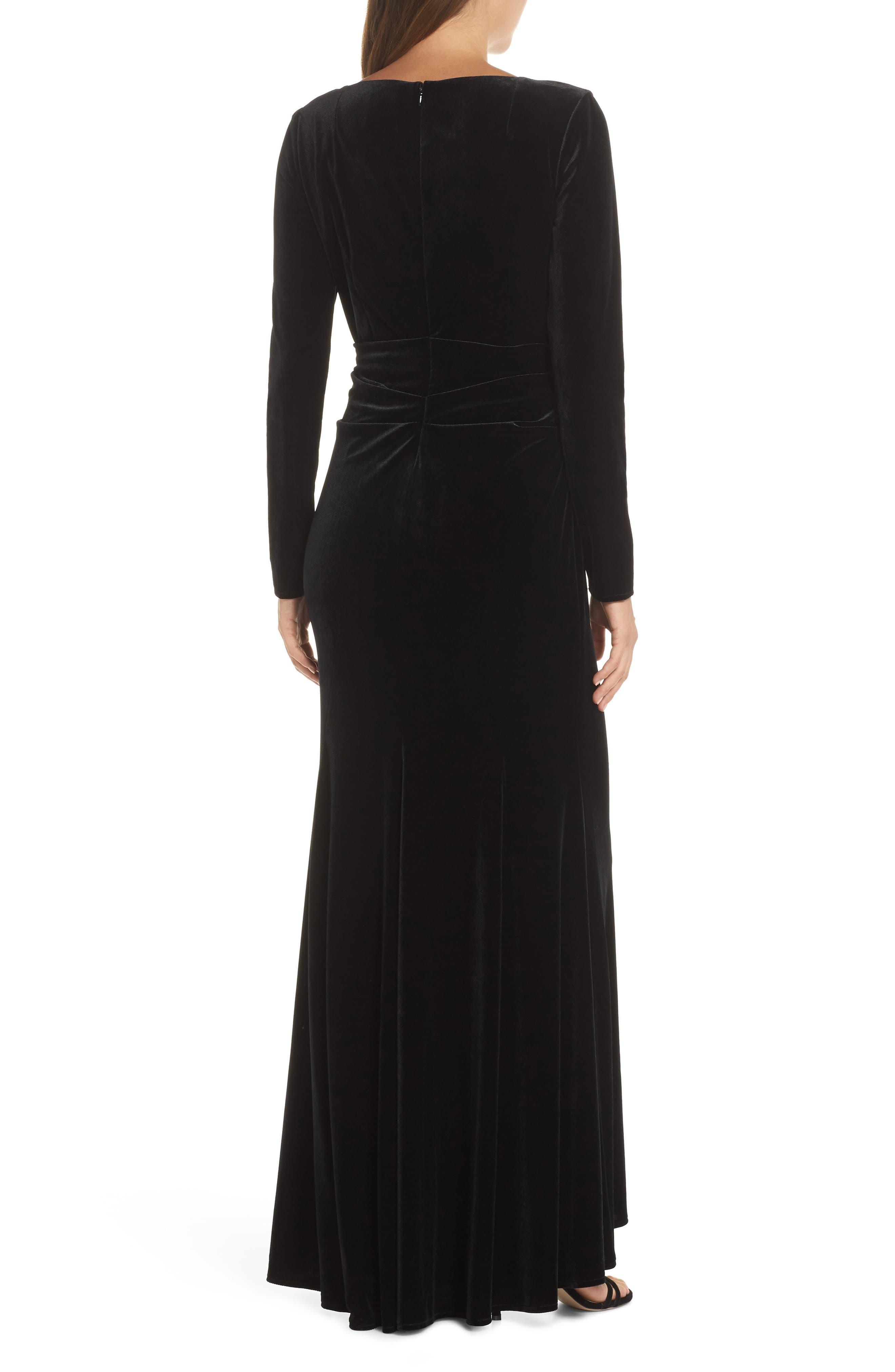 Velvet Gown,                             Alternate thumbnail 2, color,                             BLACK