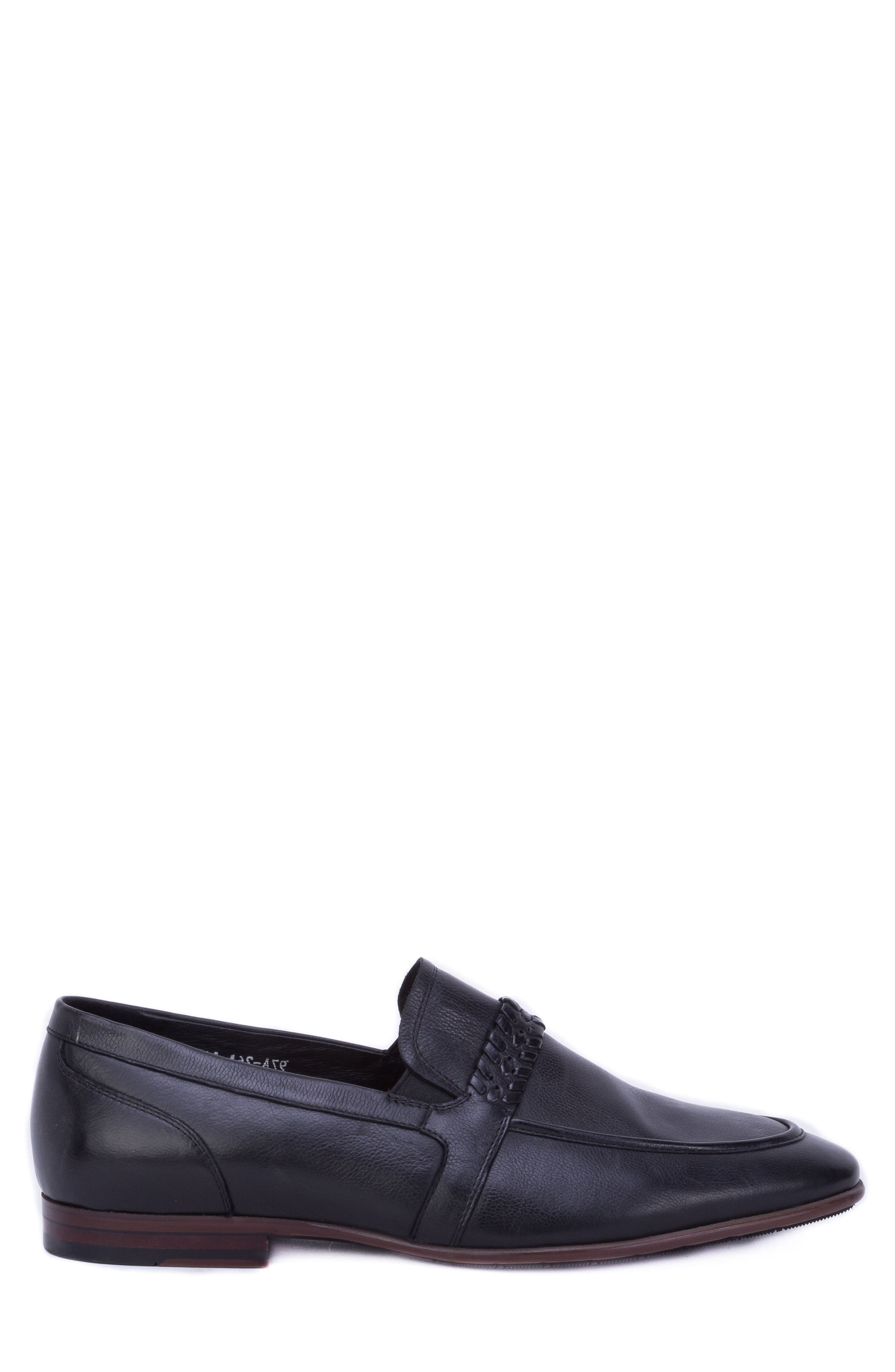 Robinson Whipstitch Apron Toe Loafer,                             Alternate thumbnail 3, color,                             BLACK LEATHER