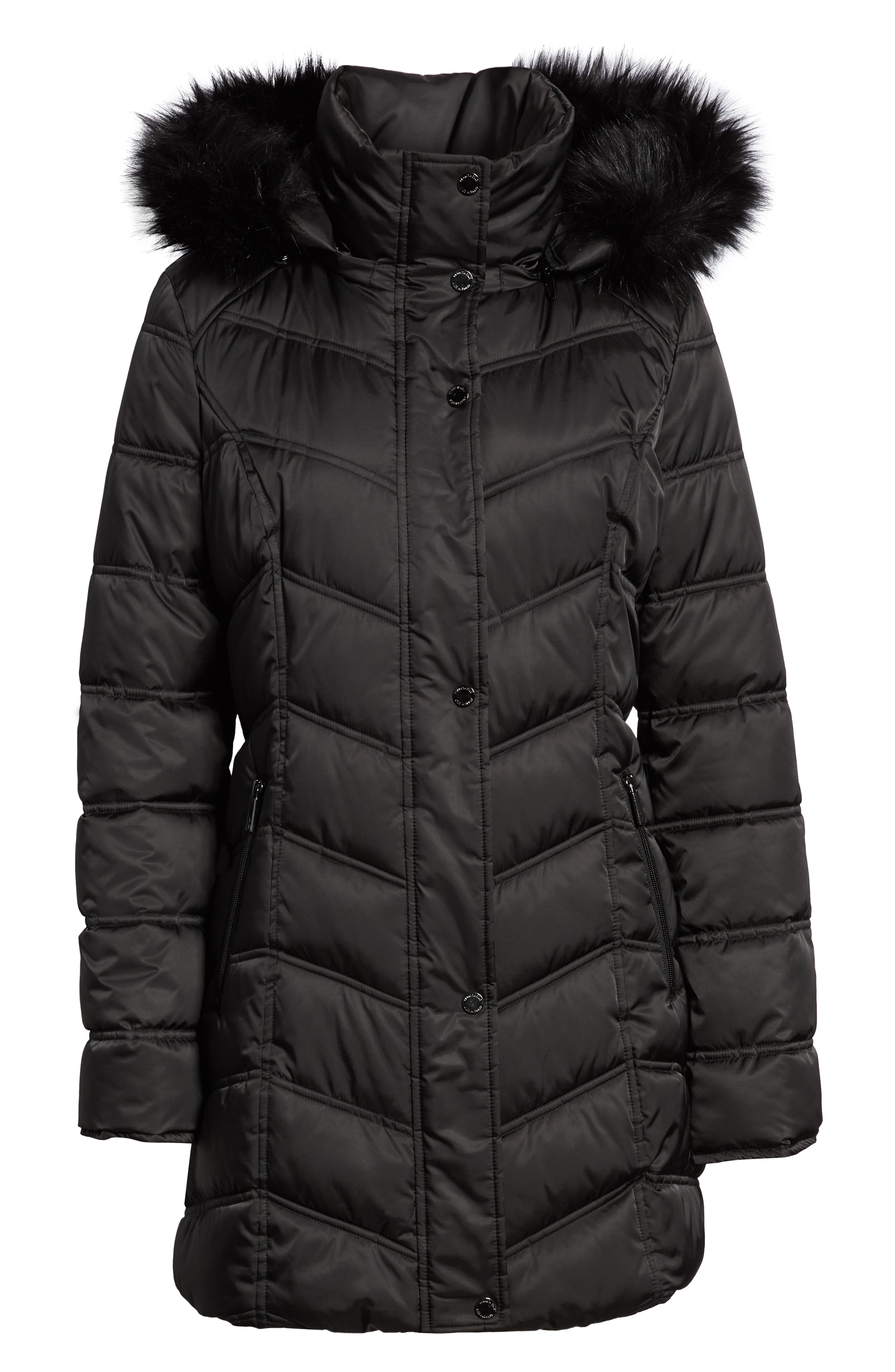 Faux Fur Trim Puffer Jacket,                             Alternate thumbnail 6, color,                             BLACK