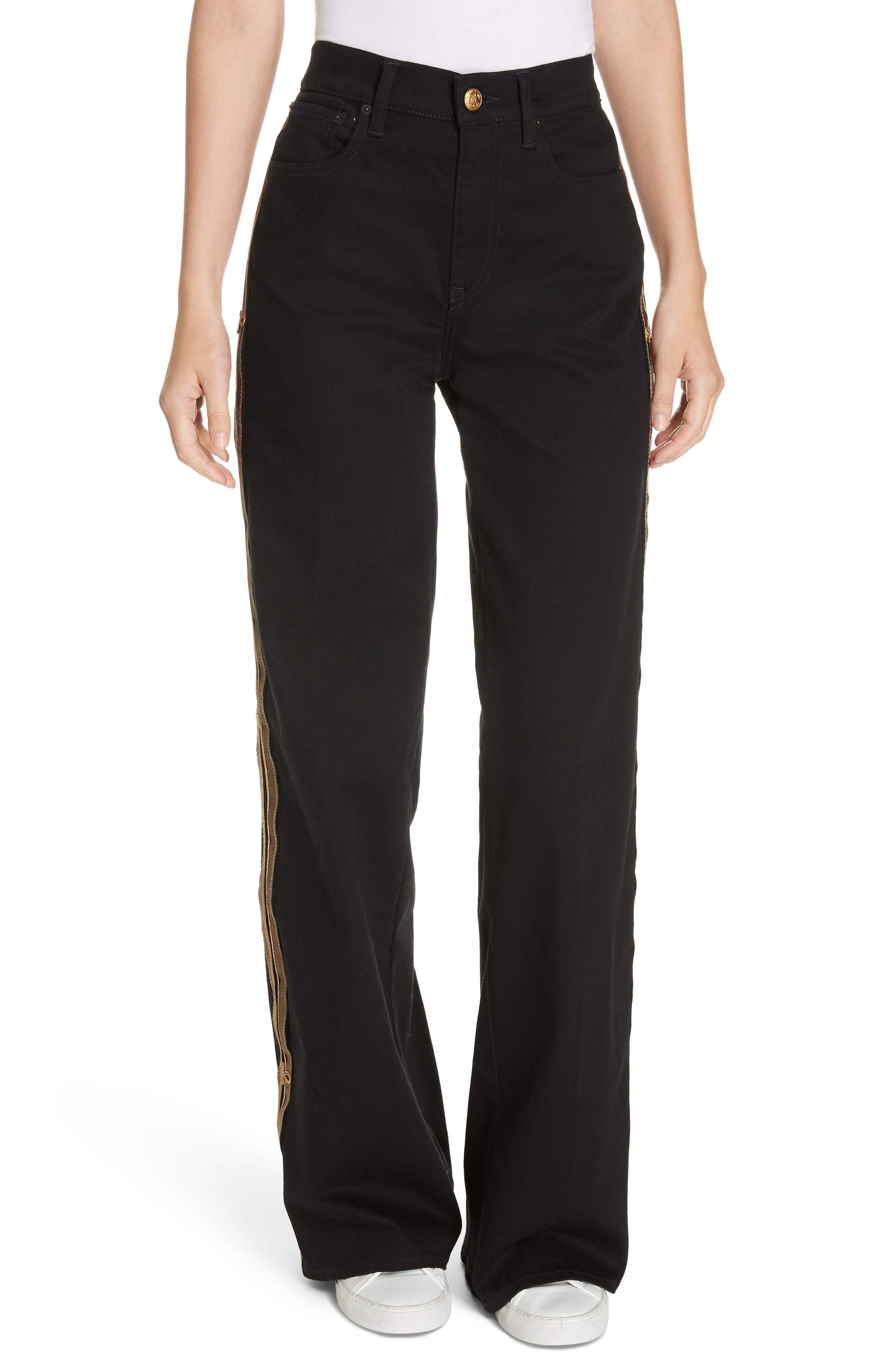 Wide Leg Denim Pants,                         Main,                         color, BLACK