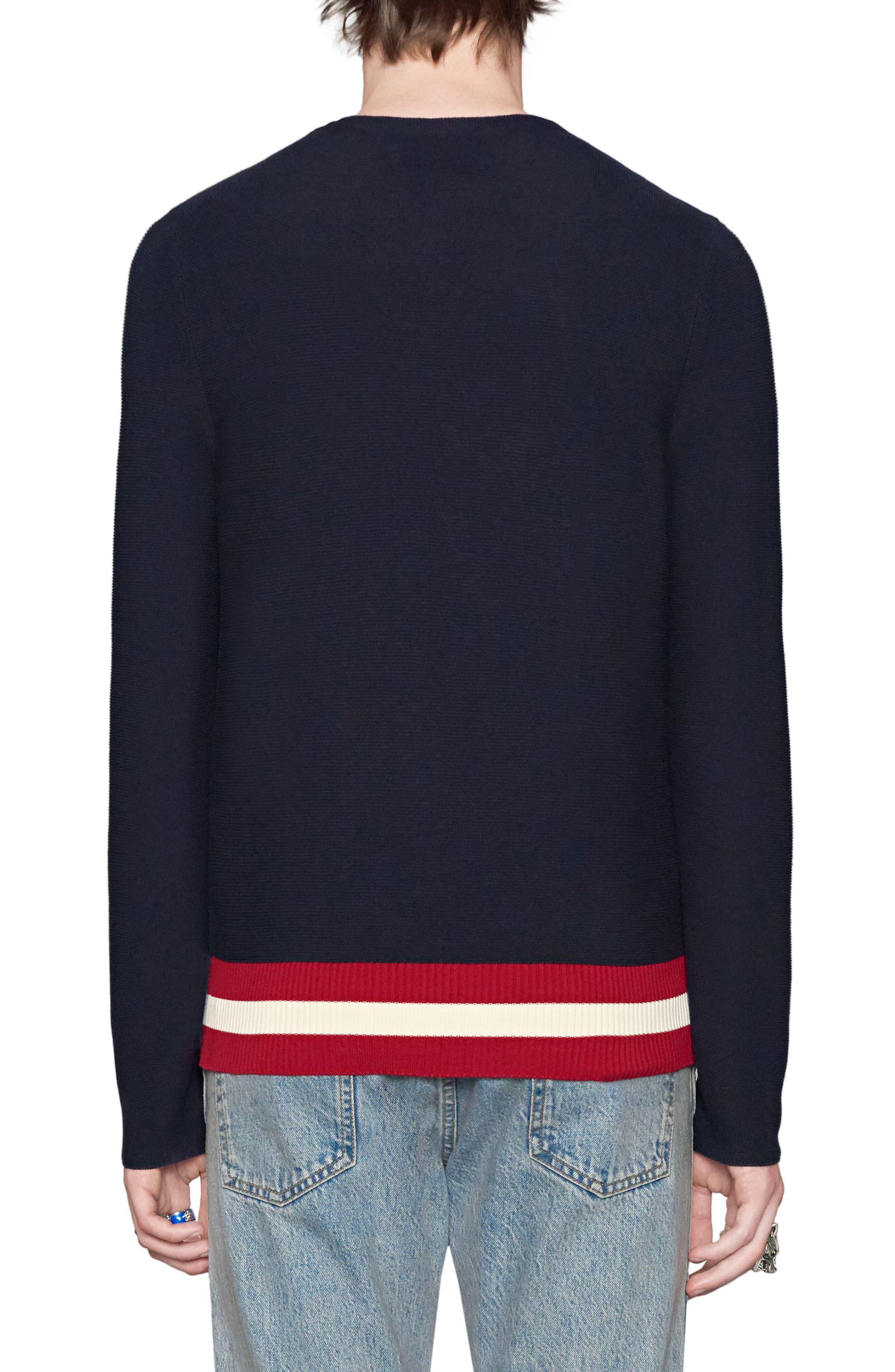 GUCCI,                             Bee Crest Crewneck Sweater,                             Alternate thumbnail 2, color,                             493