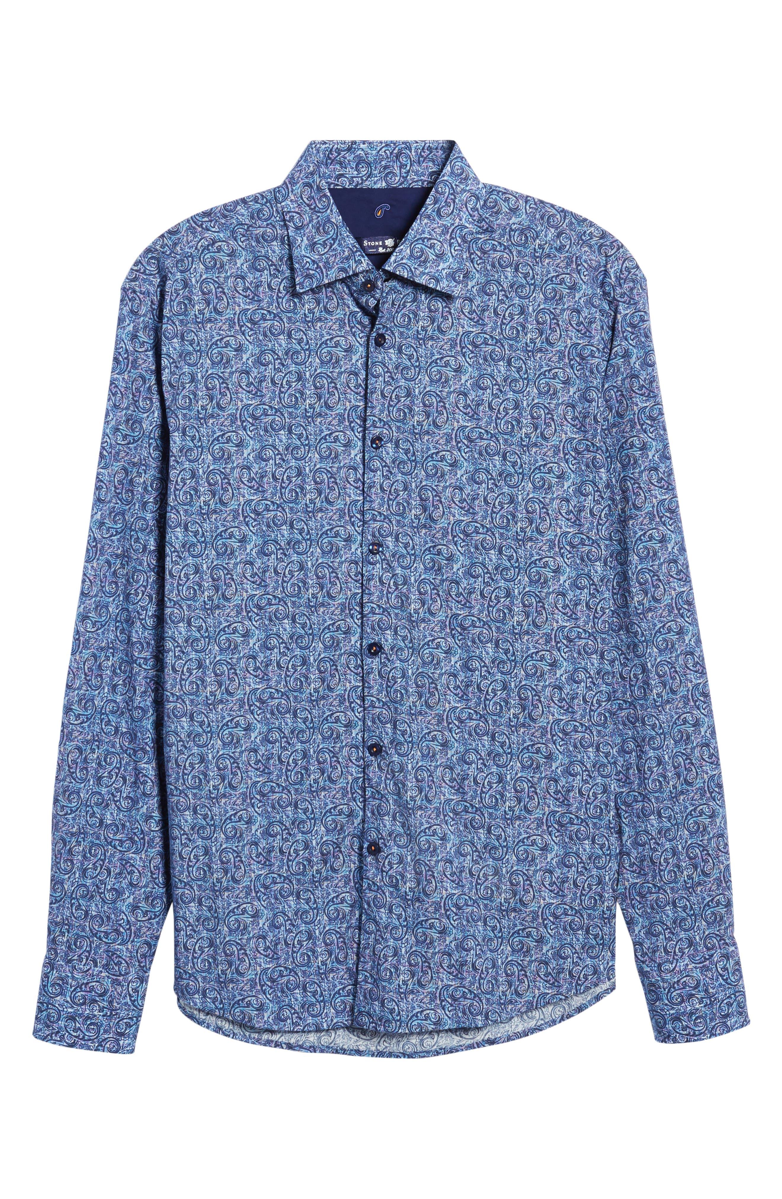 Slim Fit Paisley Plaid FX Sport Shirt,                             Alternate thumbnail 6, color,                             410