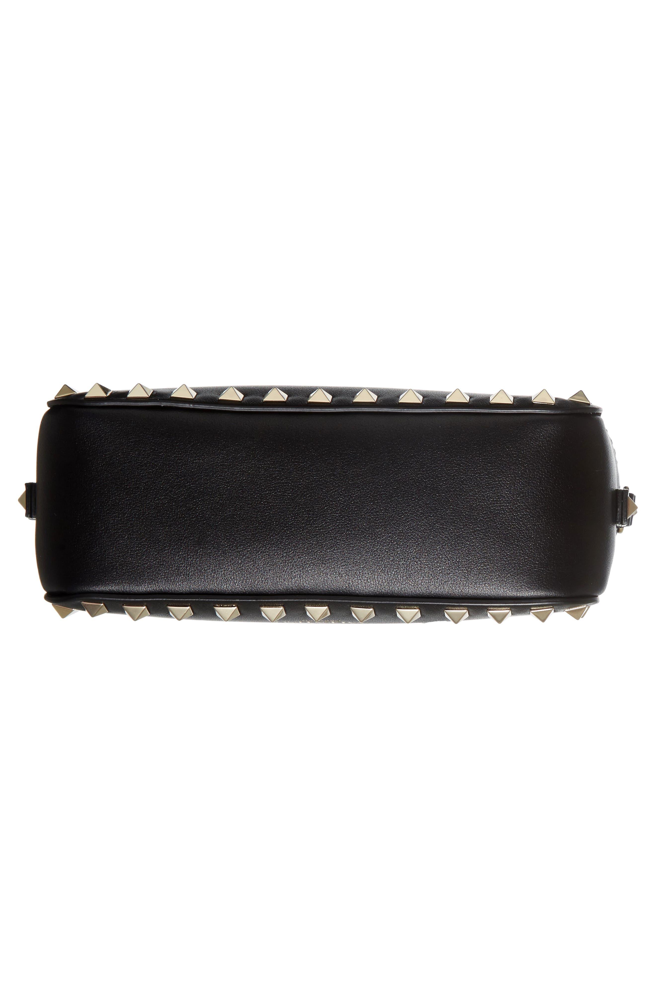 'Rockstud' Calfskin Leather Camera Crossbody Bag,                             Alternate thumbnail 5, color,                             NERO