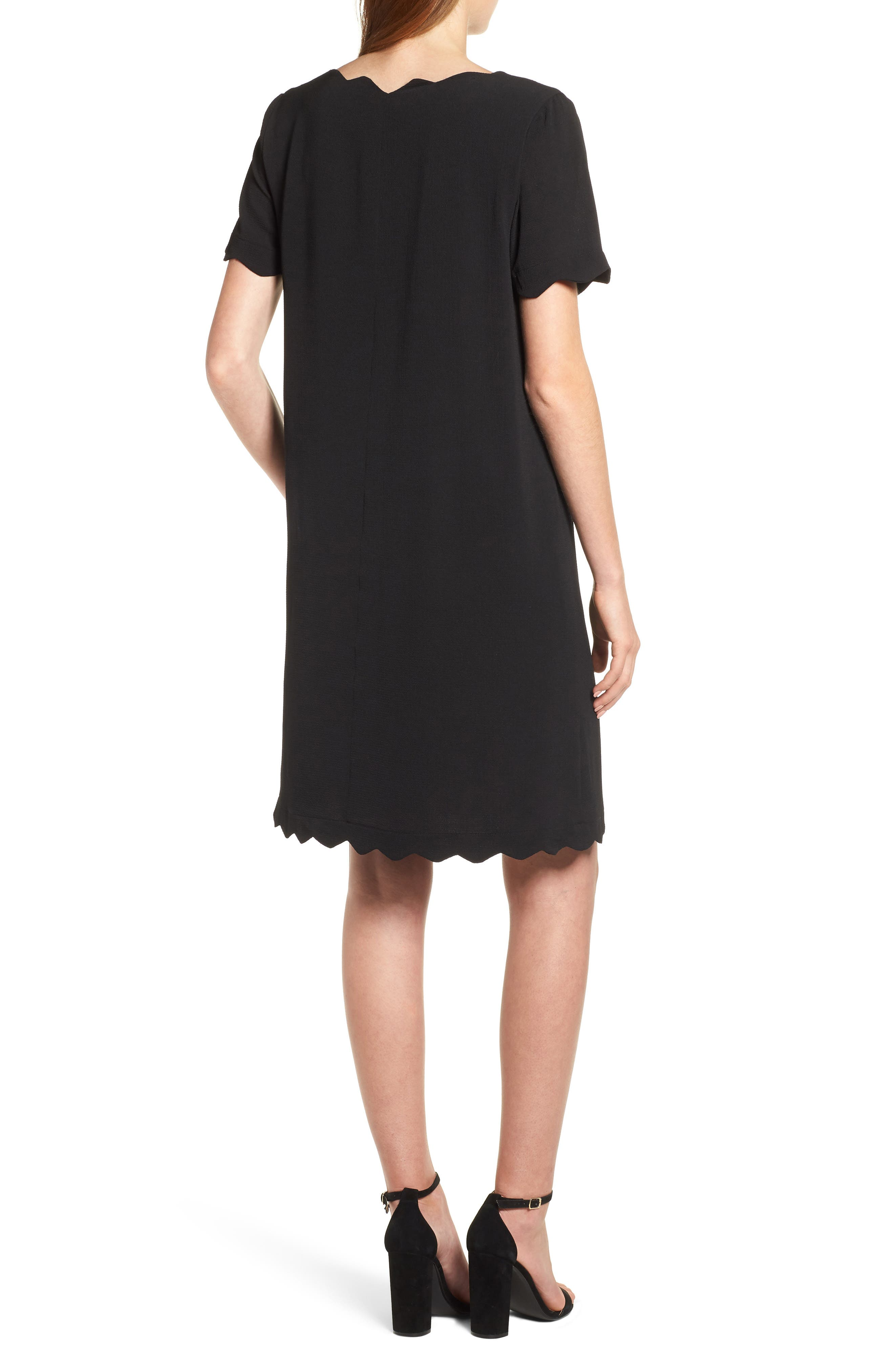 Scallop Shift Dress,                             Alternate thumbnail 2, color,                             BLACK
