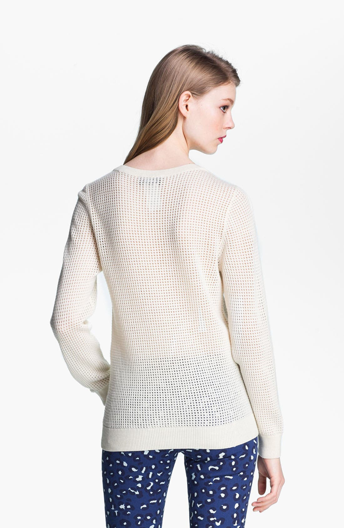 Perforated Wool Sweater,                             Alternate thumbnail 4, color,