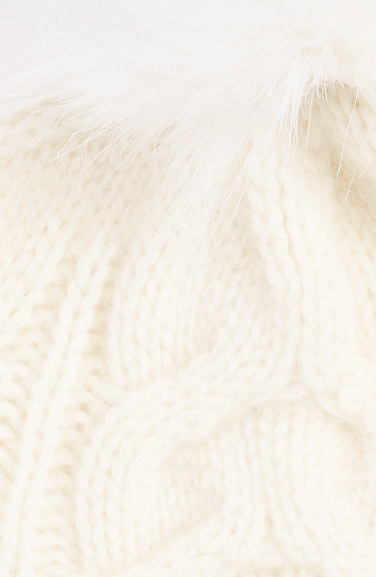 Cashmere Cable Knit Beanie with Faux Fur Pom,                             Alternate thumbnail 2, color,                             IVORY EGGNOG
