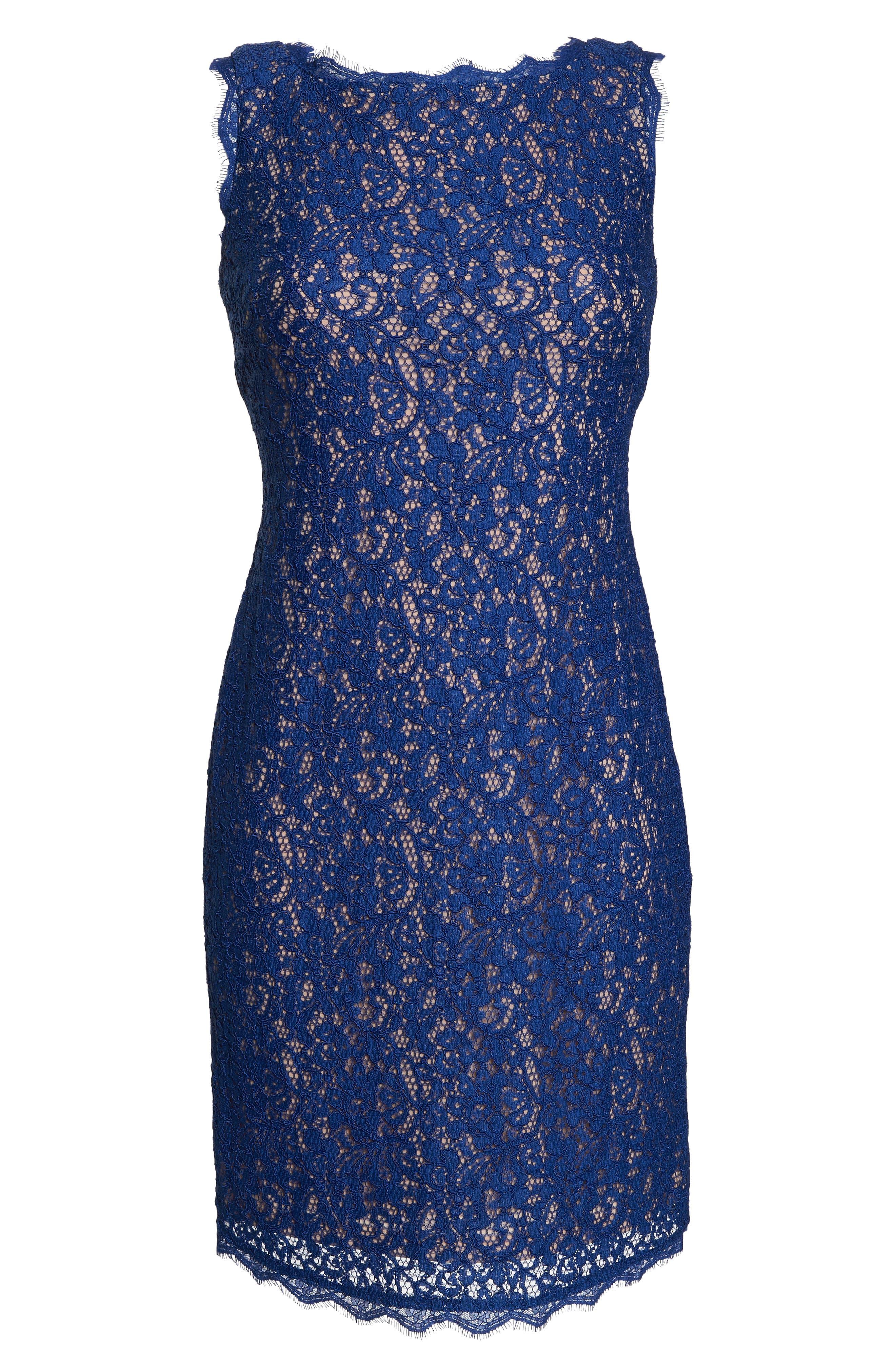 Boatneck Lace Sheath Dress,                             Alternate thumbnail 154, color,