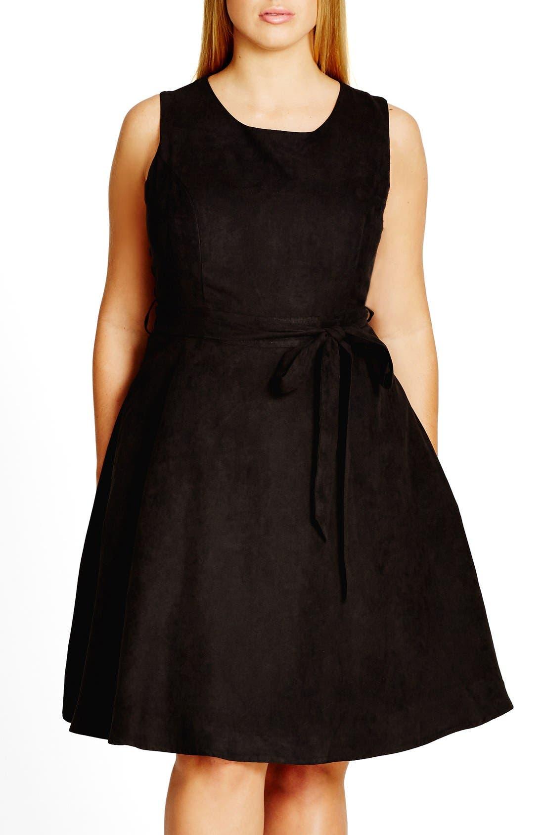 Faux Suede Fit & Flare Dress,                             Main thumbnail 1, color,                             001