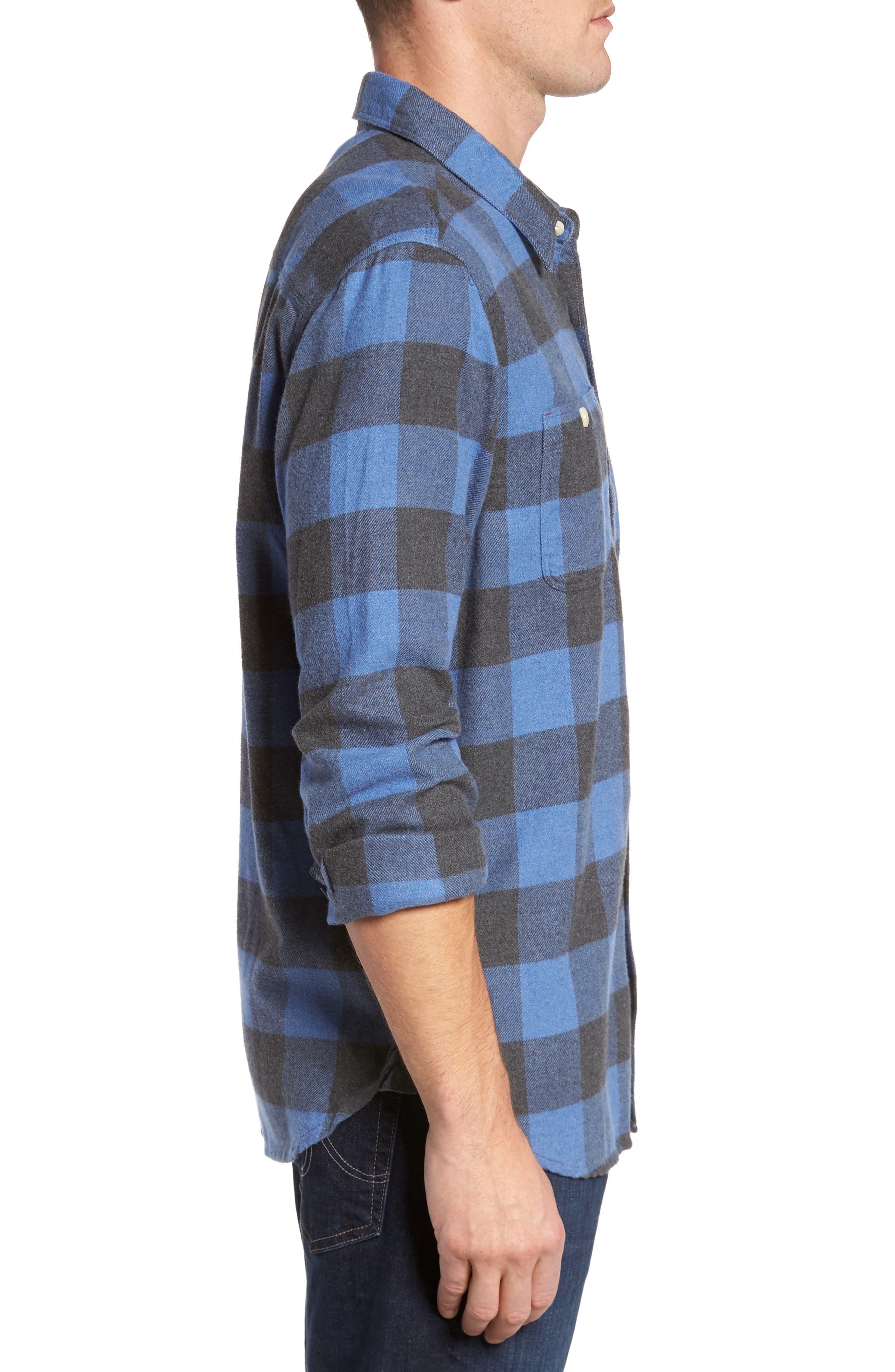 Road Trip Check Flannel Shirt,                             Alternate thumbnail 3, color,