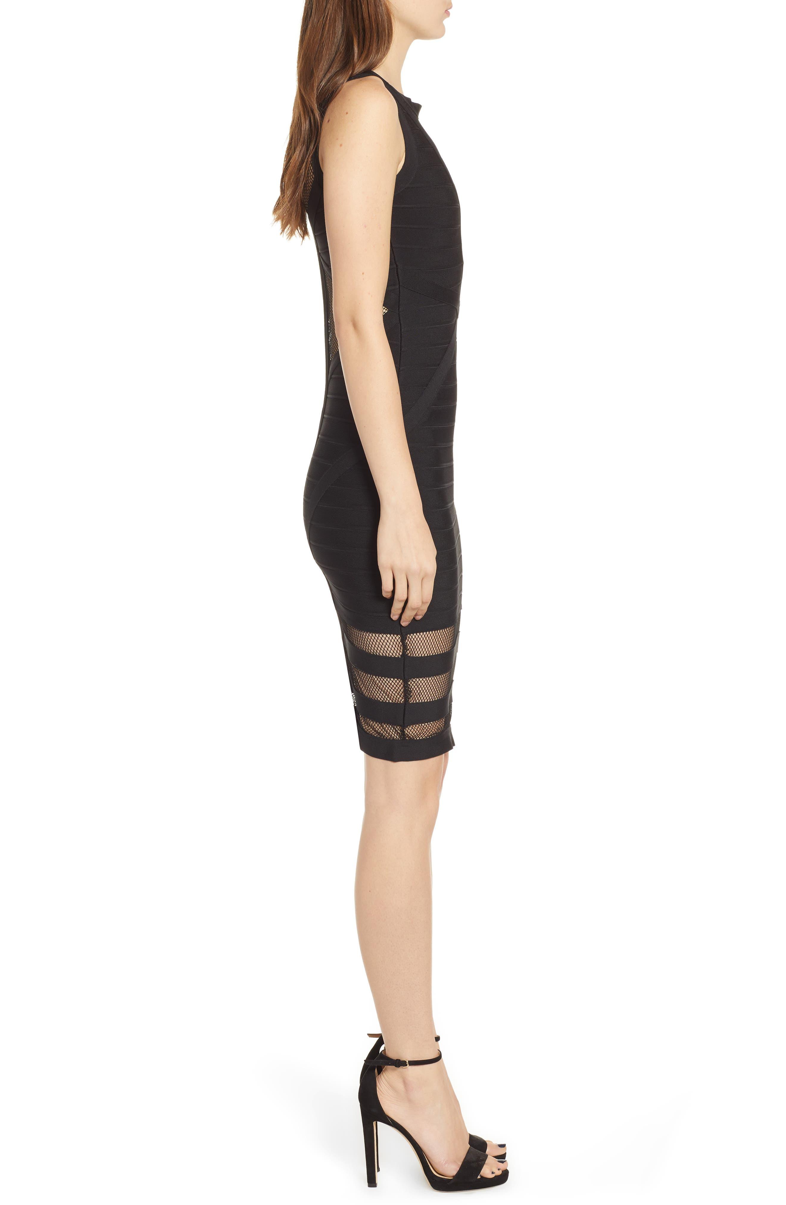 Illusion Mesh Body-Con Dress,                             Alternate thumbnail 3, color,                             BLACK