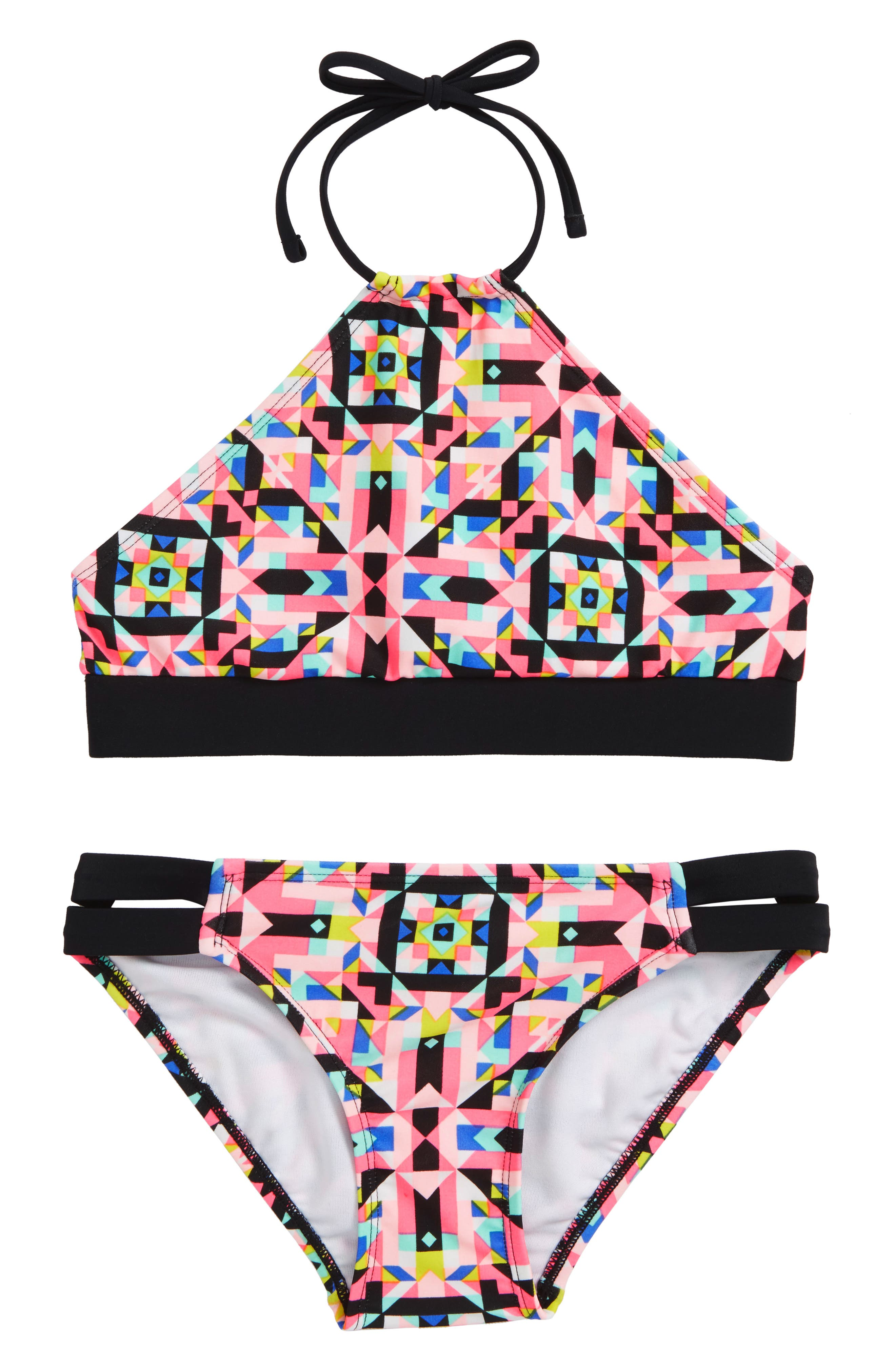 Geo Print Two-Piece Swimsuit,                         Main,                         color, WATERMELON/ MULTI