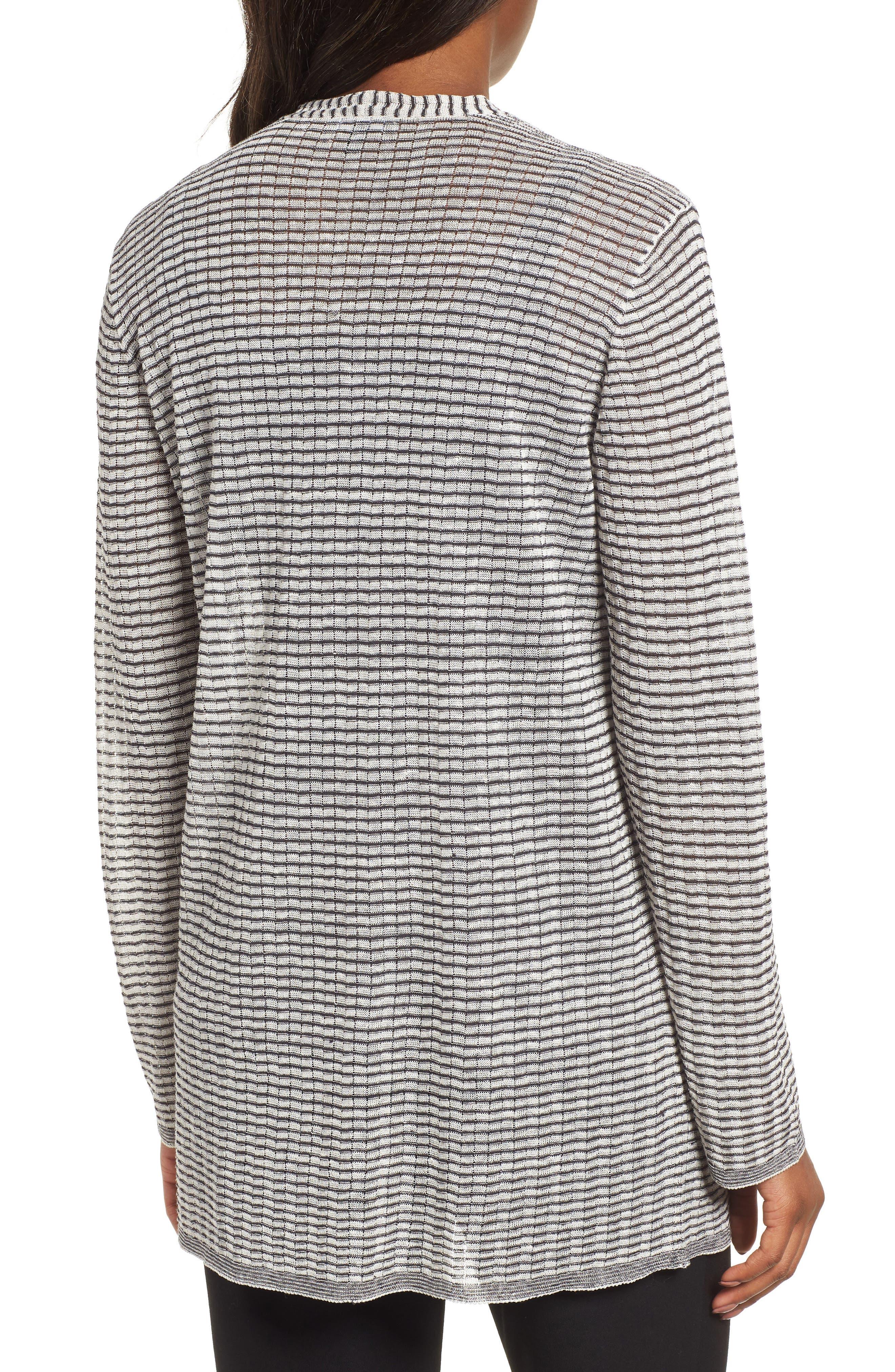 Stripe Organic Linen Blend Cardigan,                             Alternate thumbnail 2, color,
