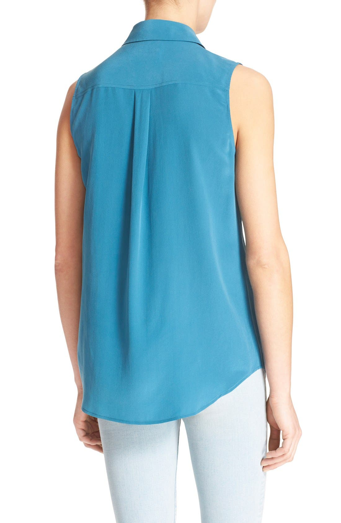 'Slim Signature' Sleeveless Silk Shirt,                             Alternate thumbnail 124, color,