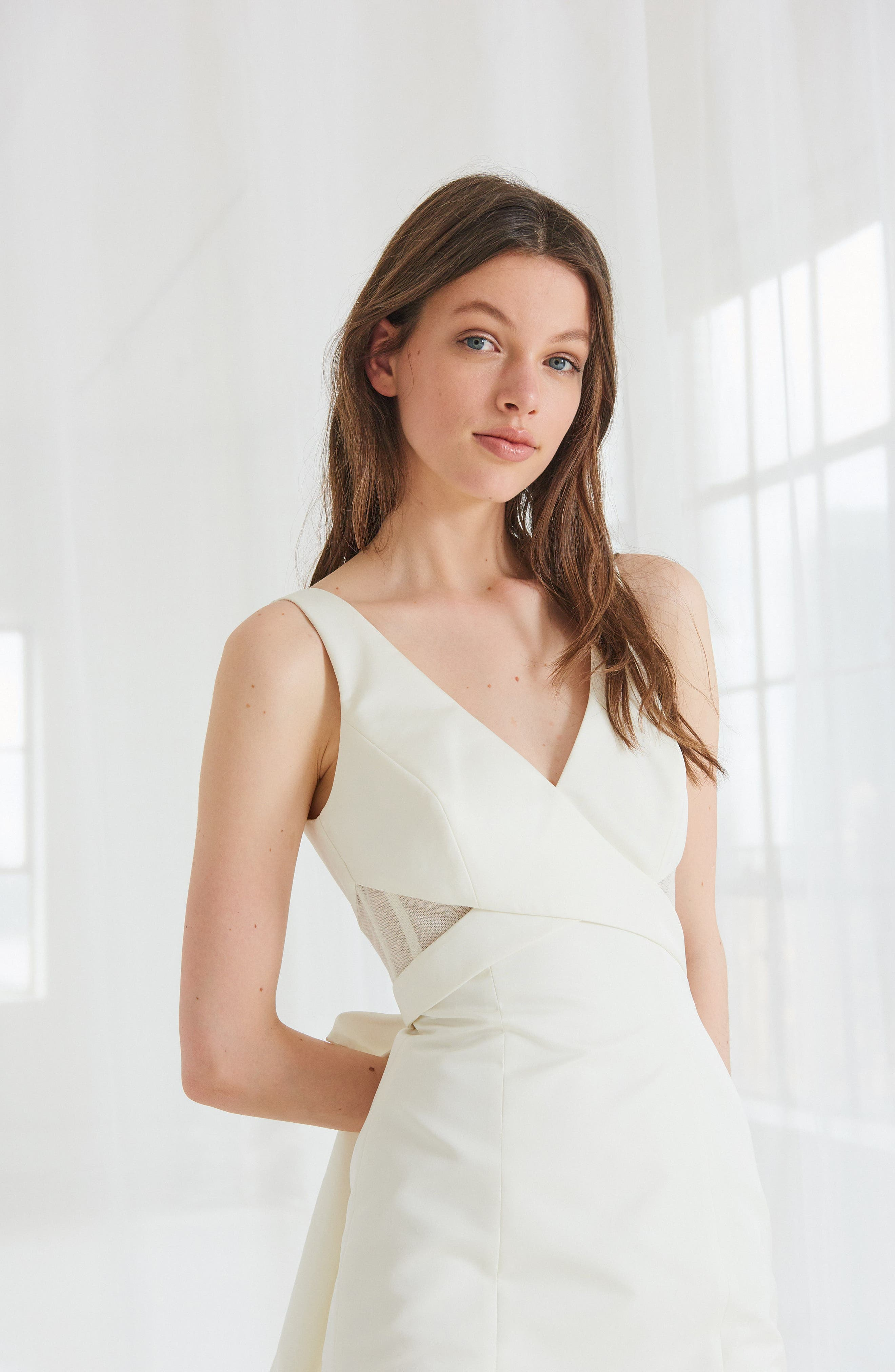 Cooper Fit & Flare Gown with Detachable Train,                             Alternate thumbnail 3, color,                             IVORY