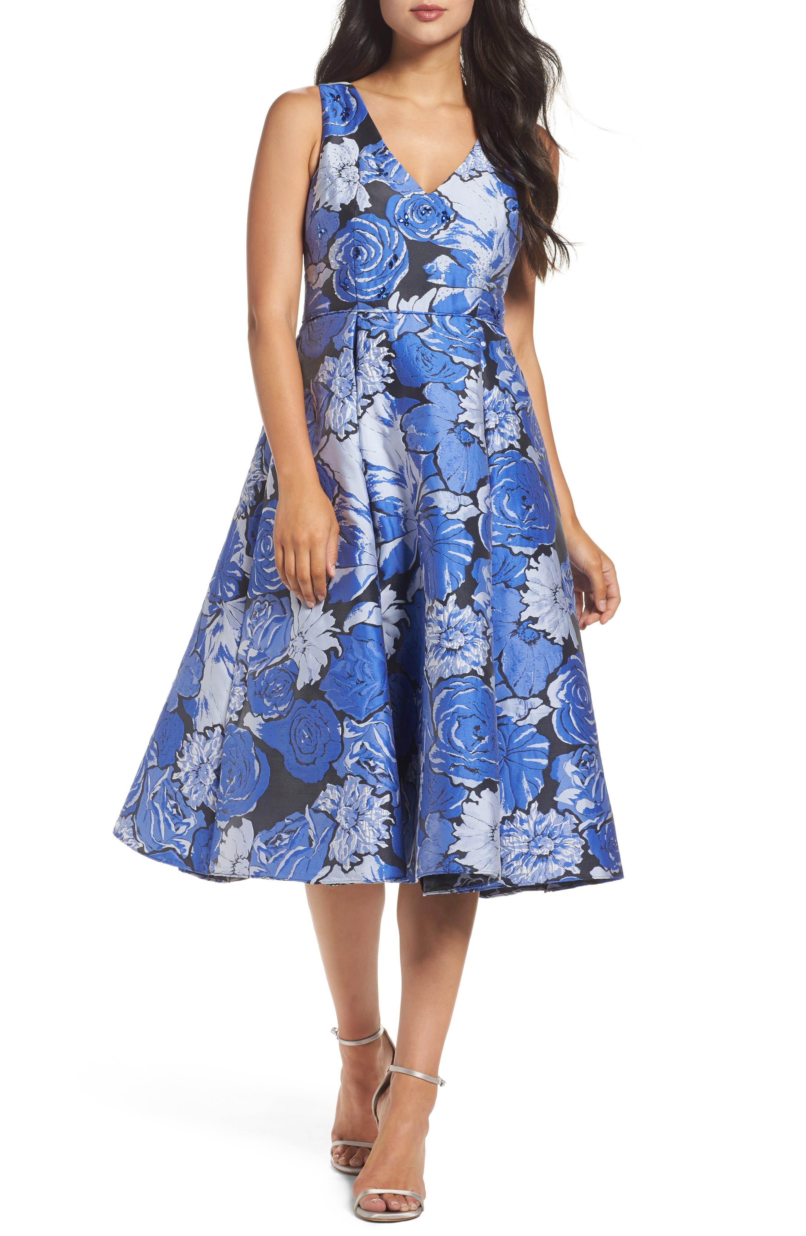 Jacquard Fit & Flare Dress,                             Main thumbnail 1, color,