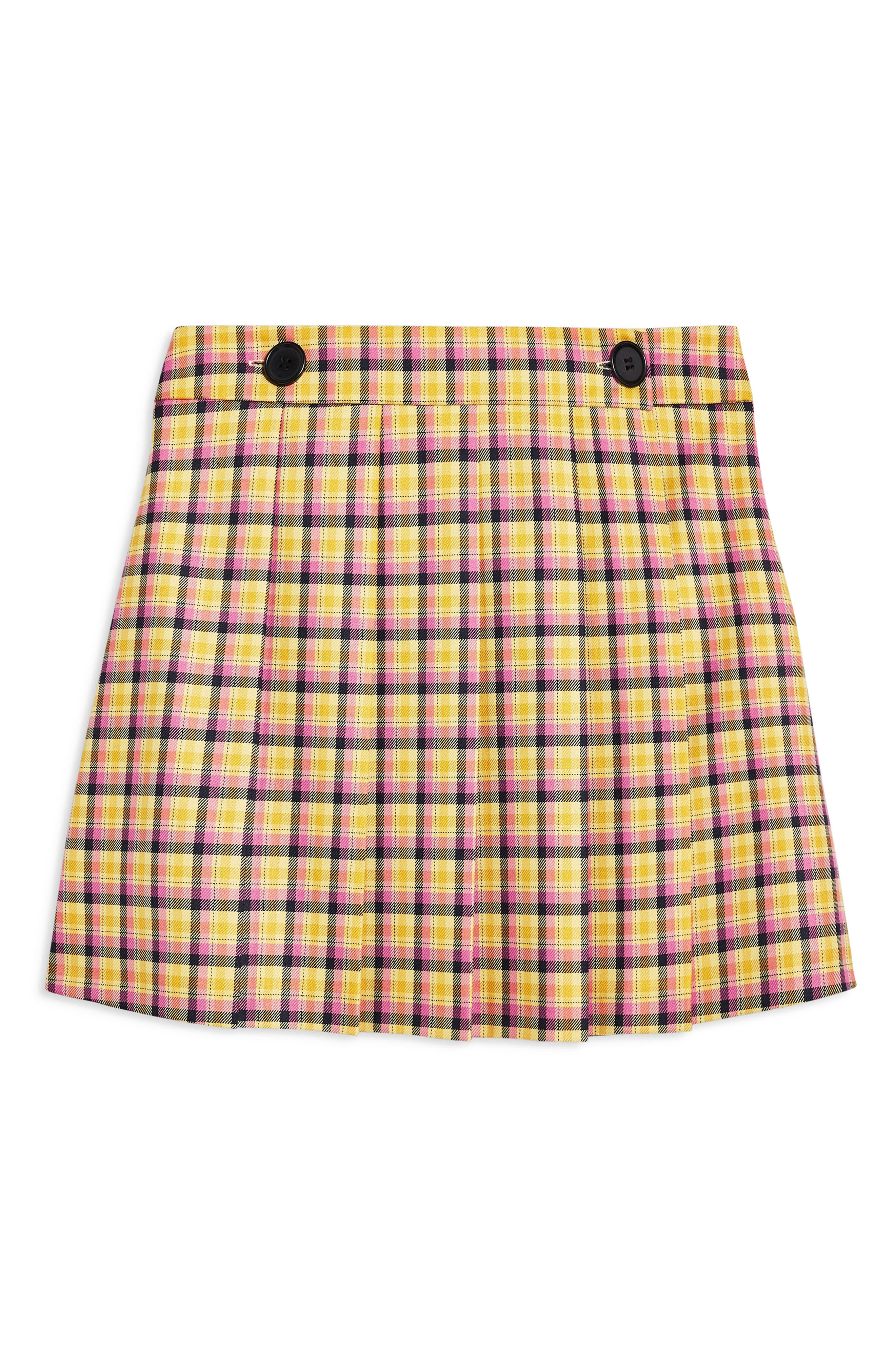 Check Kilt Miniskirt,                             Alternate thumbnail 3, color,                             YELLOW MULTI