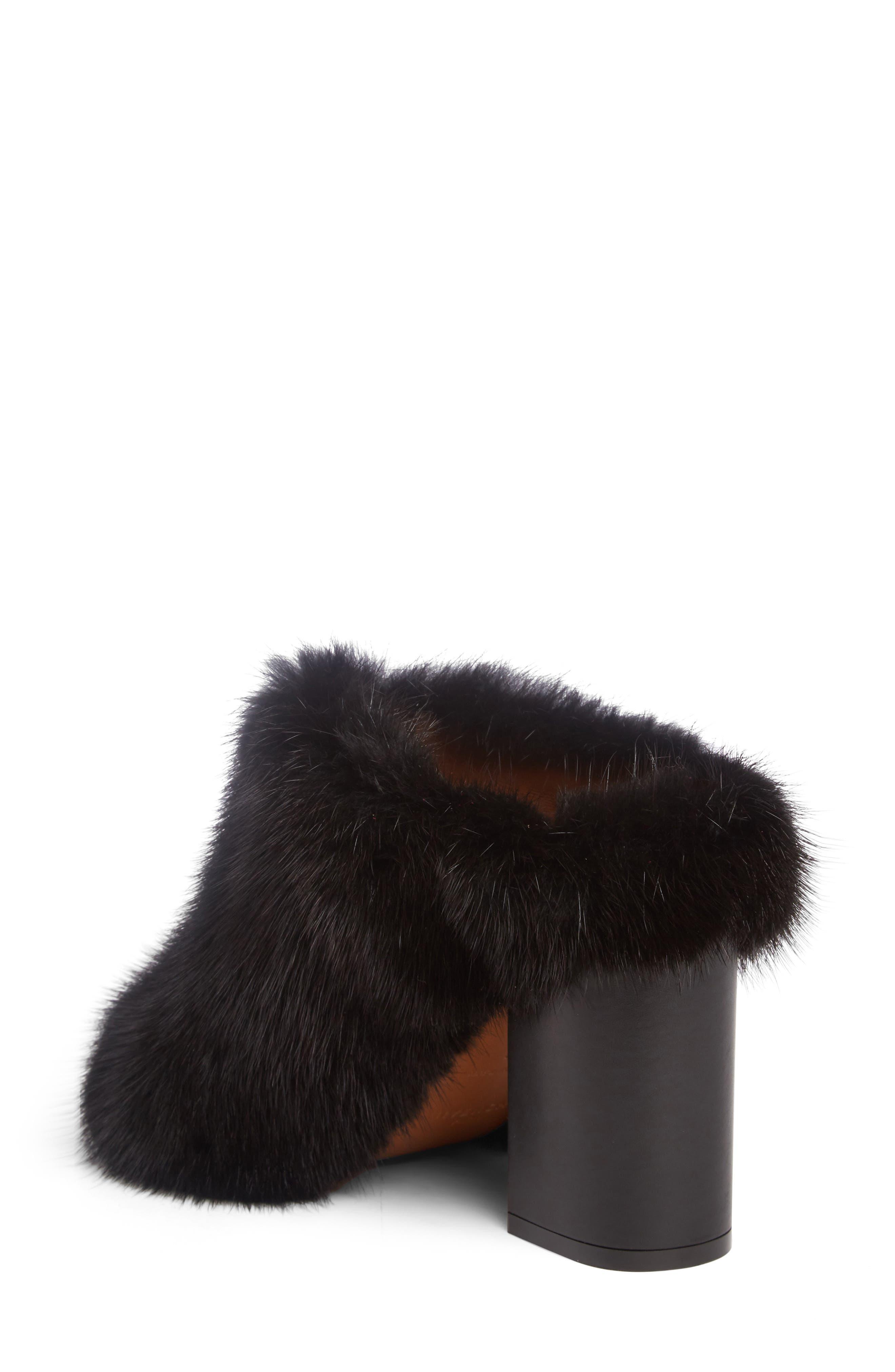 Paris Genuine Mink Fur Mule,                             Alternate thumbnail 2, color,                             001