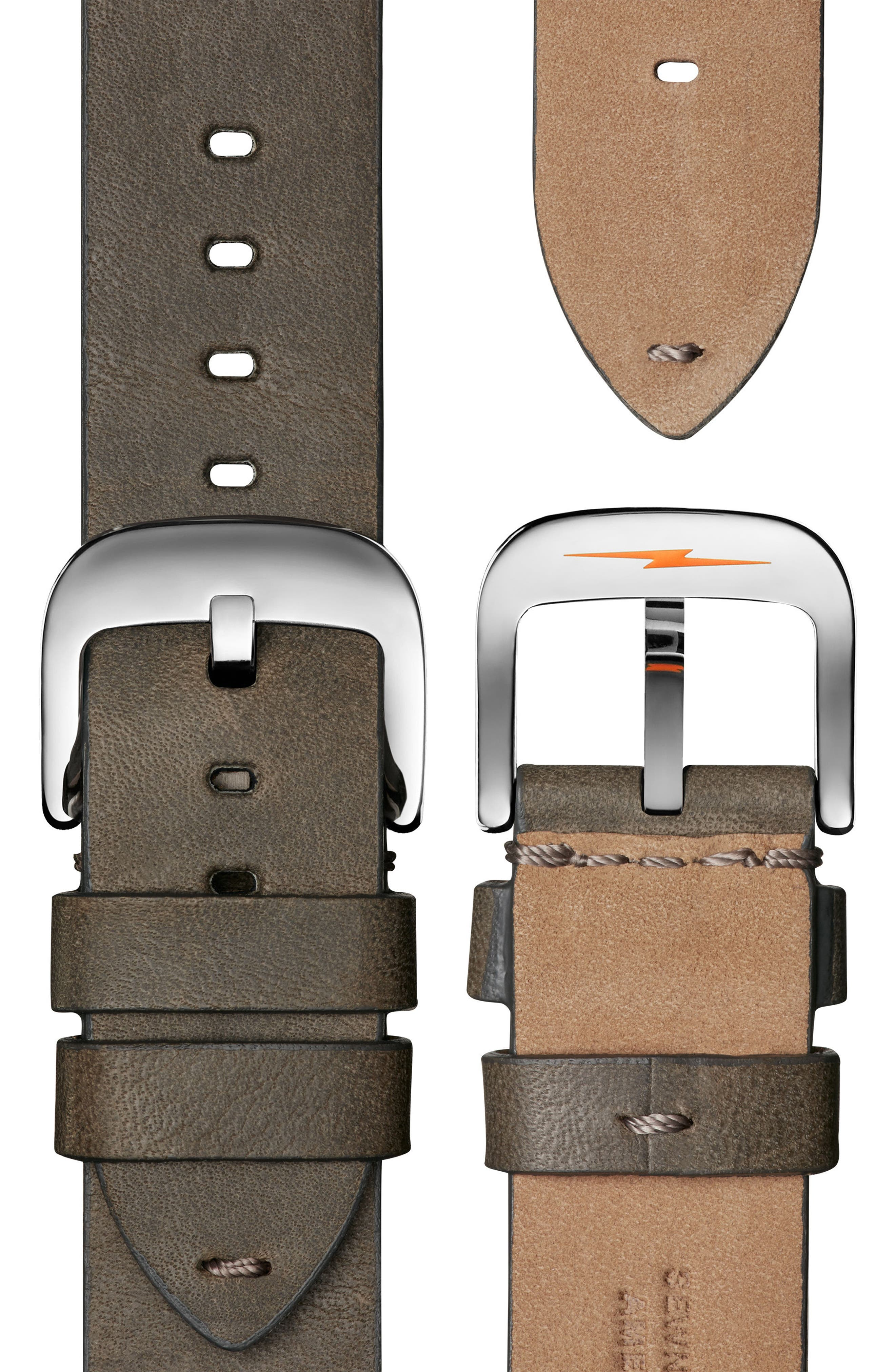 The Canfield Chrono Leather Strap Watch, 43mm,                             Alternate thumbnail 4, color,                             GREY/ PINE/ SILVER