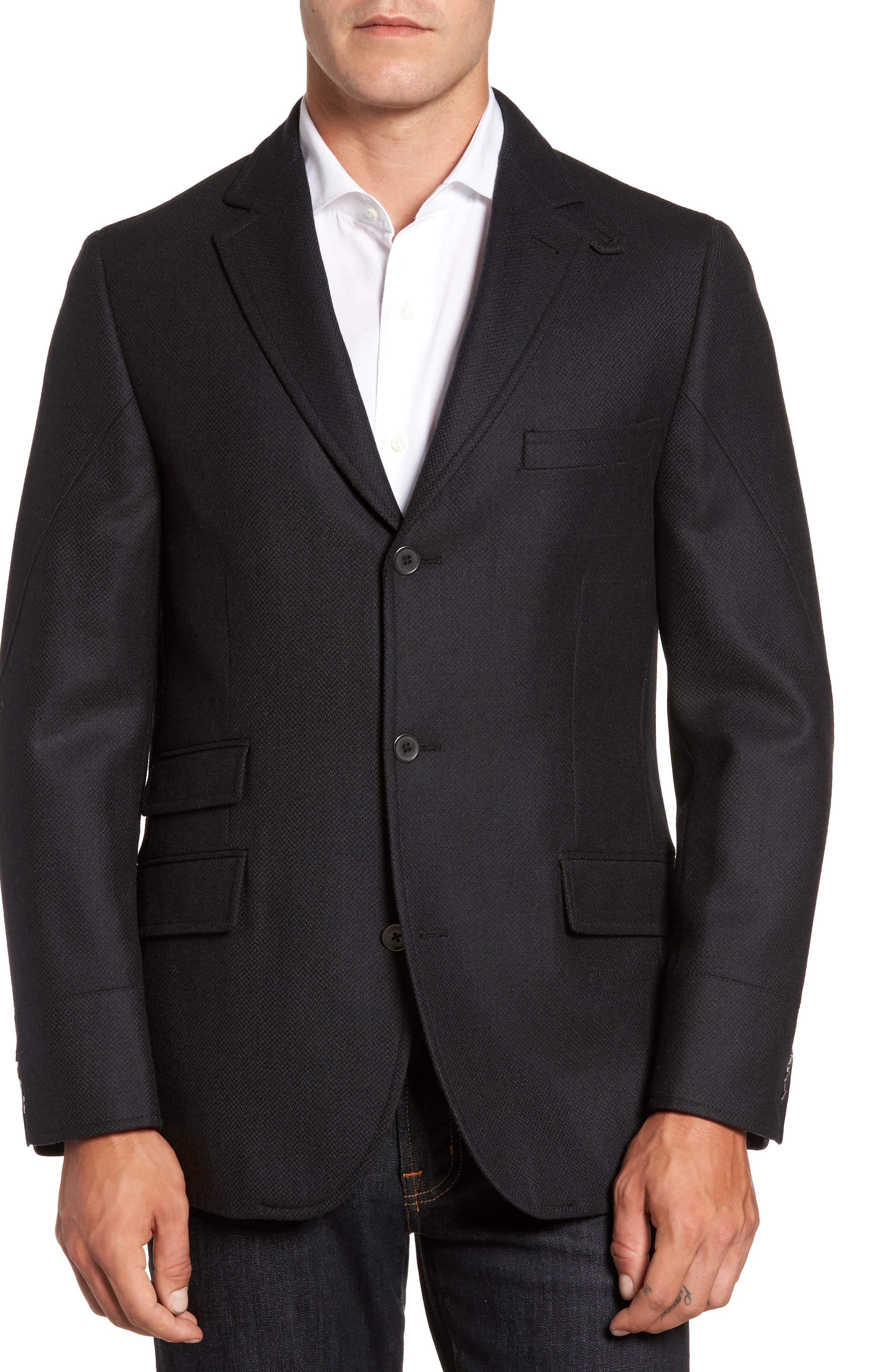 Classic Fit Wool & Cashmere Hybrid Coat,                             Alternate thumbnail 4, color,                             001