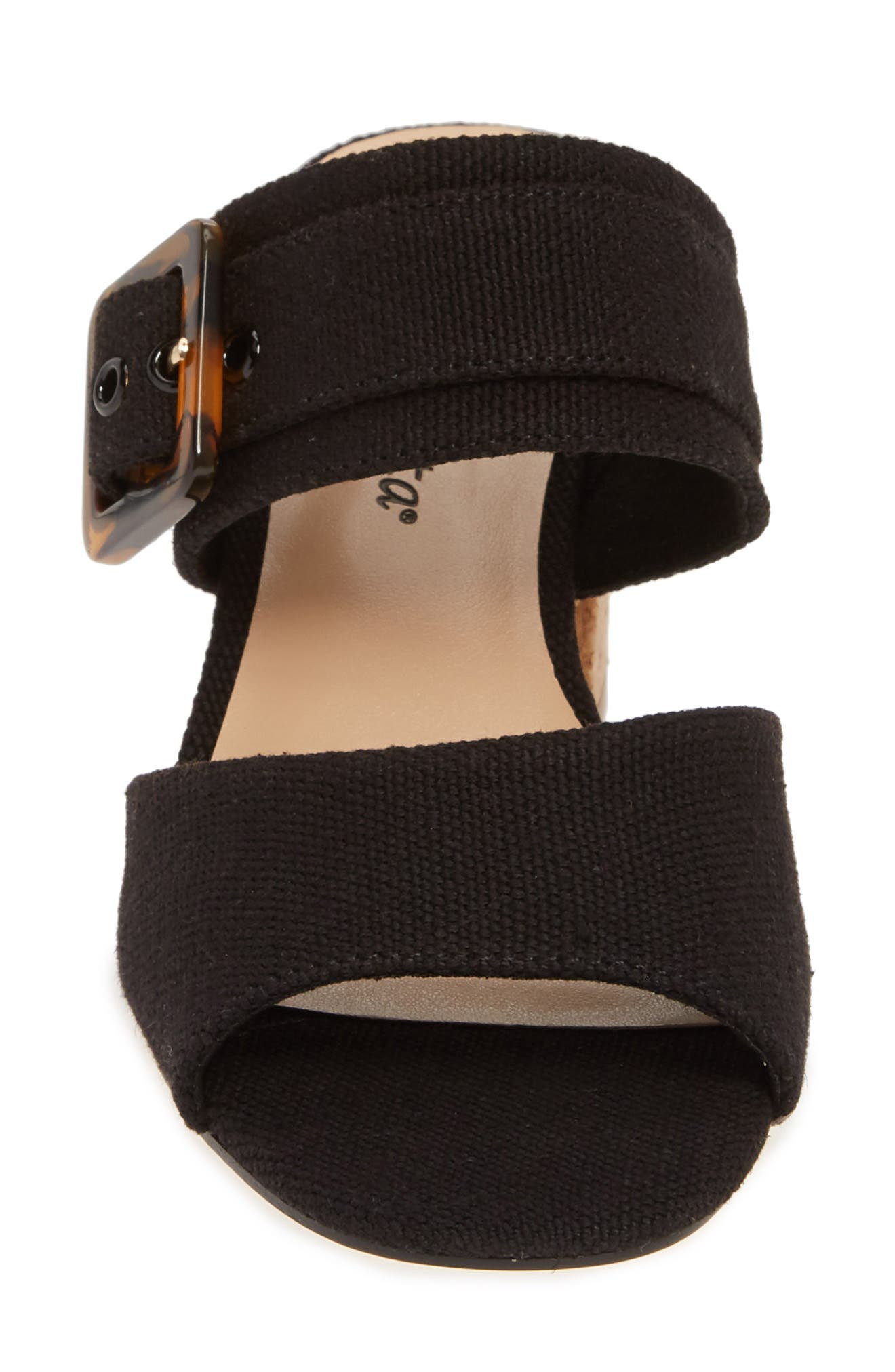 Tory II Buckle Slide Sandal,                             Alternate thumbnail 4, color,                             BLACK LINEN FABRIC