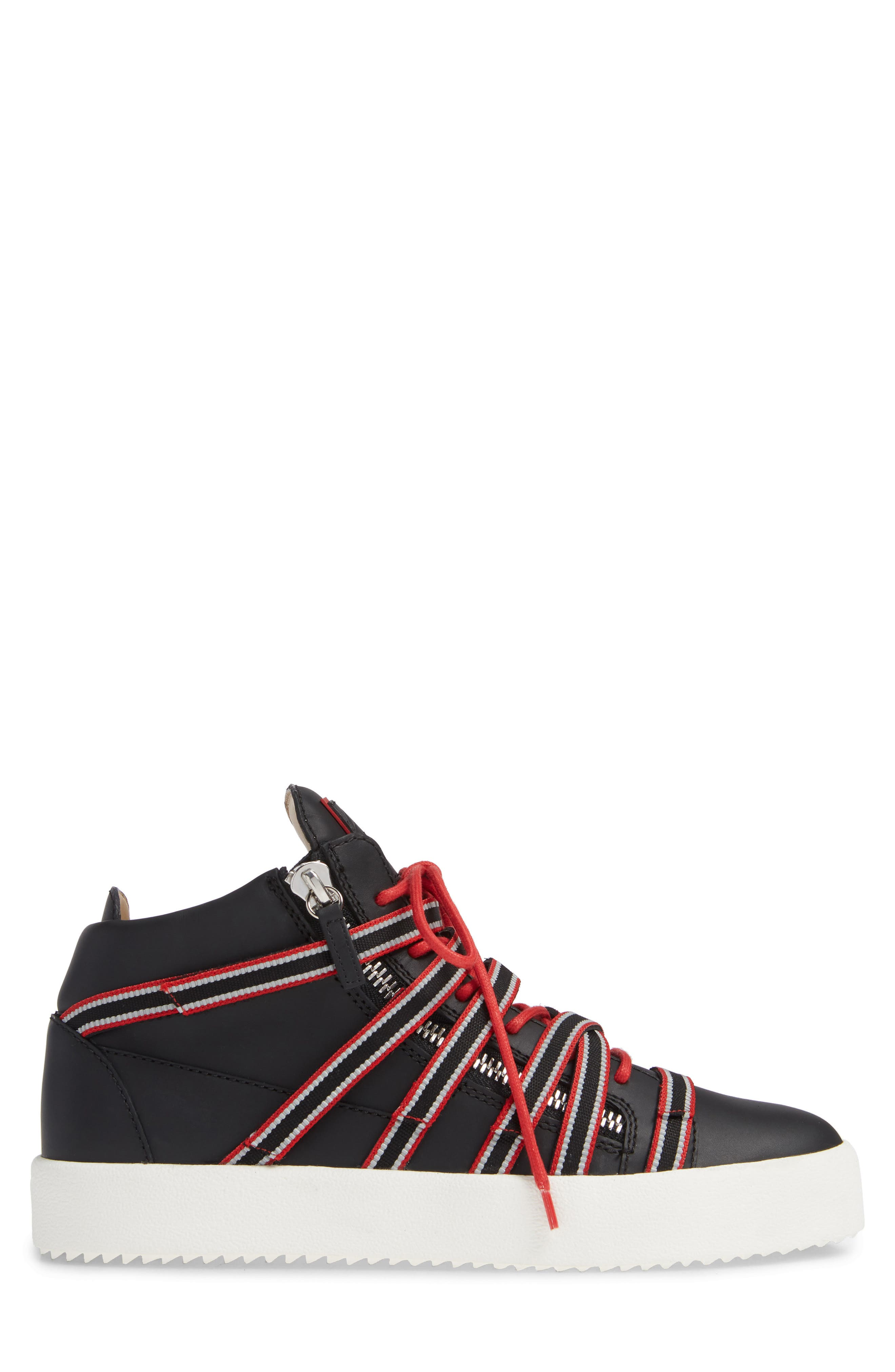 Multistrap Mid Top Sneaker,                             Alternate thumbnail 3, color,                             BLACK/ BLACK