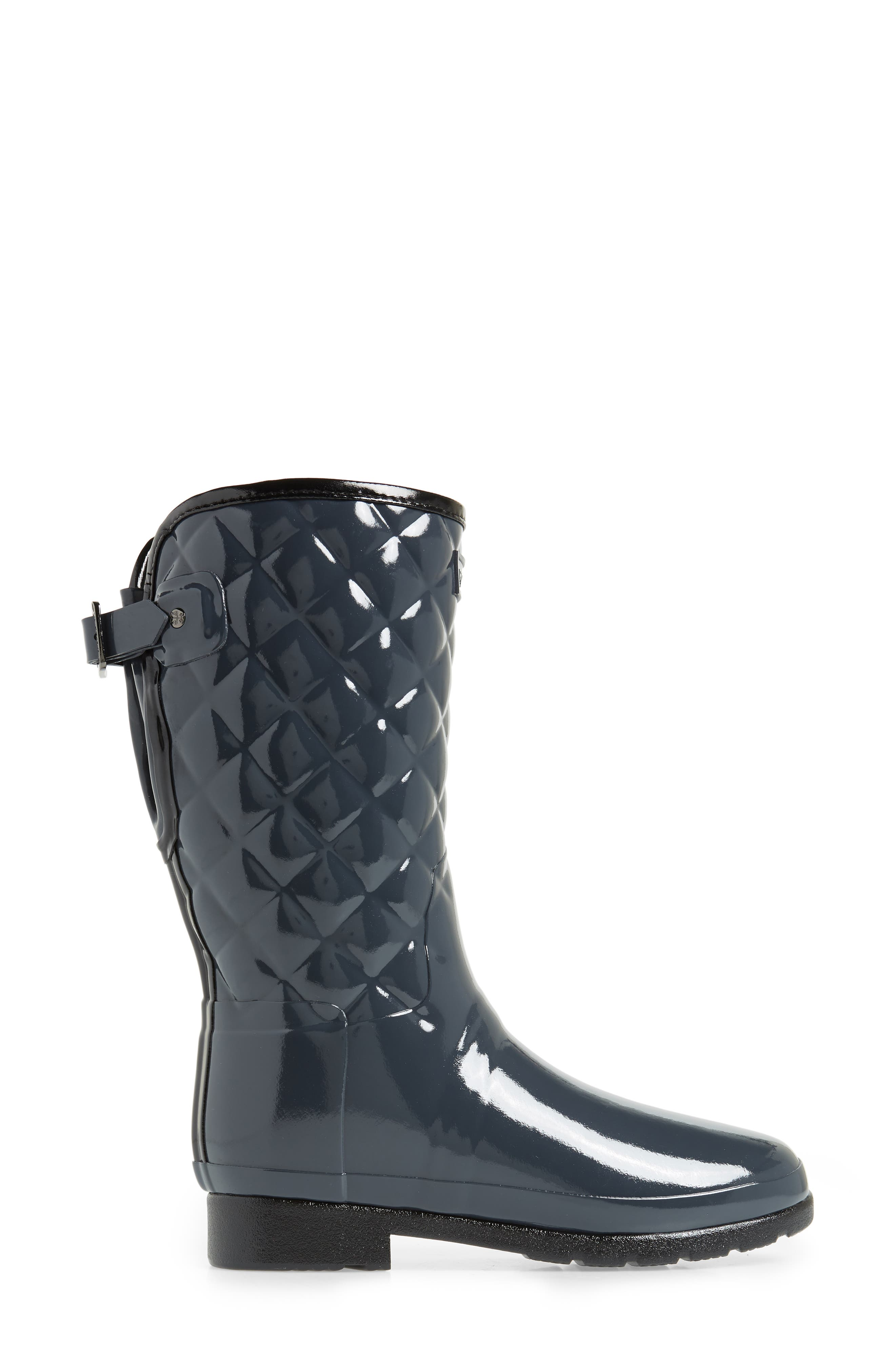 Refined High Gloss Quilted Short Waterproof Rain Boot,                             Alternate thumbnail 3, color,                             DARK SLATE