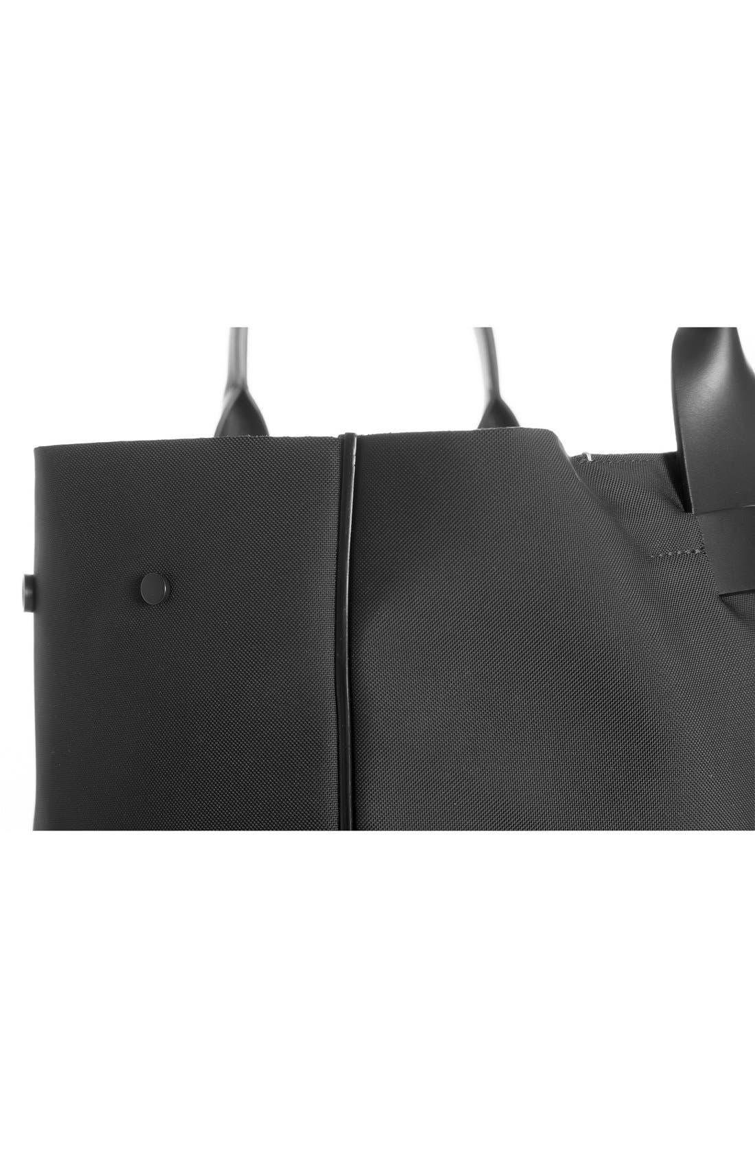 Nylon & Leather Tote Bag,                             Alternate thumbnail 3, color,                             001