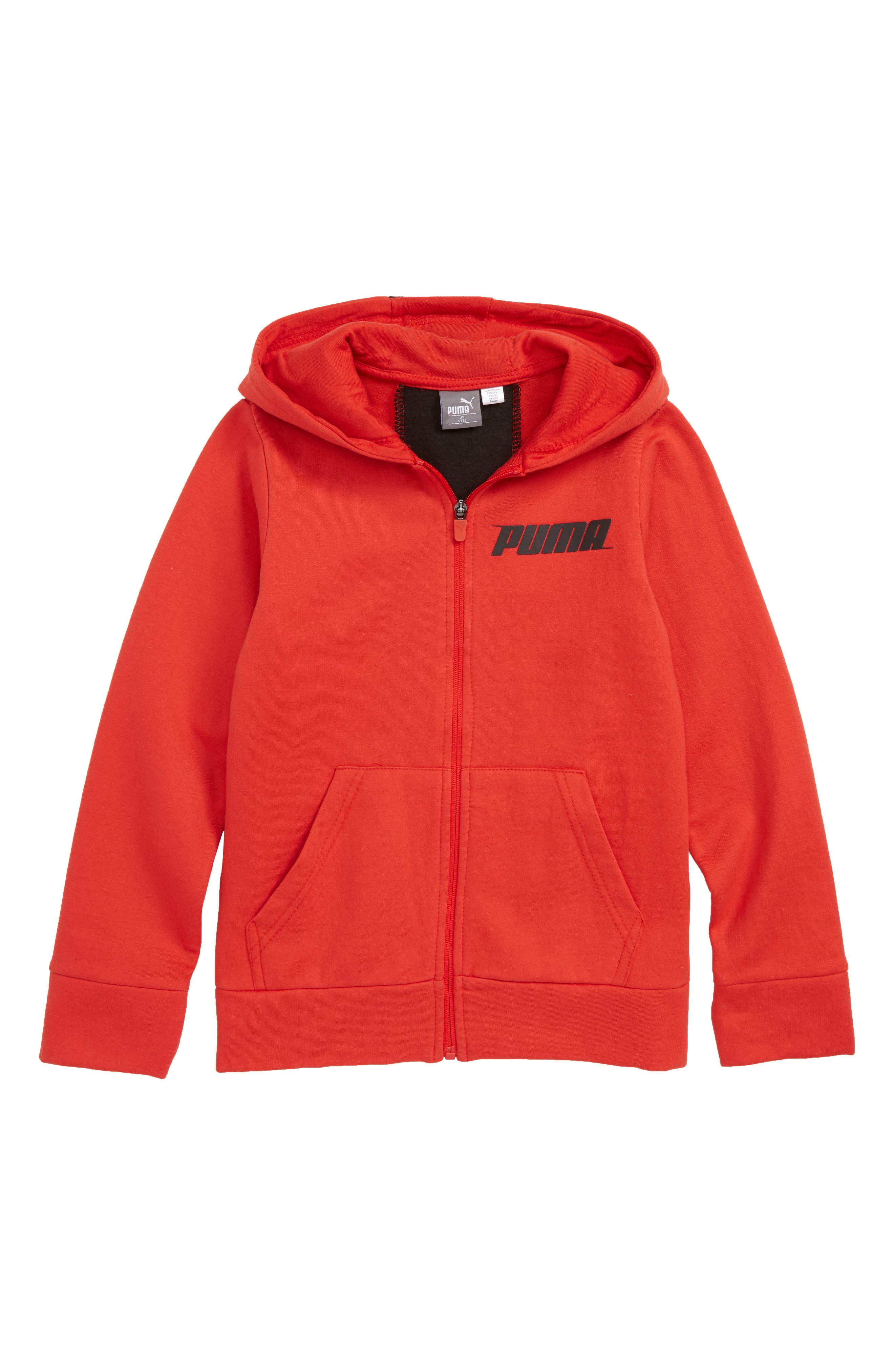 Colorblock Fleece Zip-Up Hoodie,                             Main thumbnail 1, color,                             HIGHT RISK RED