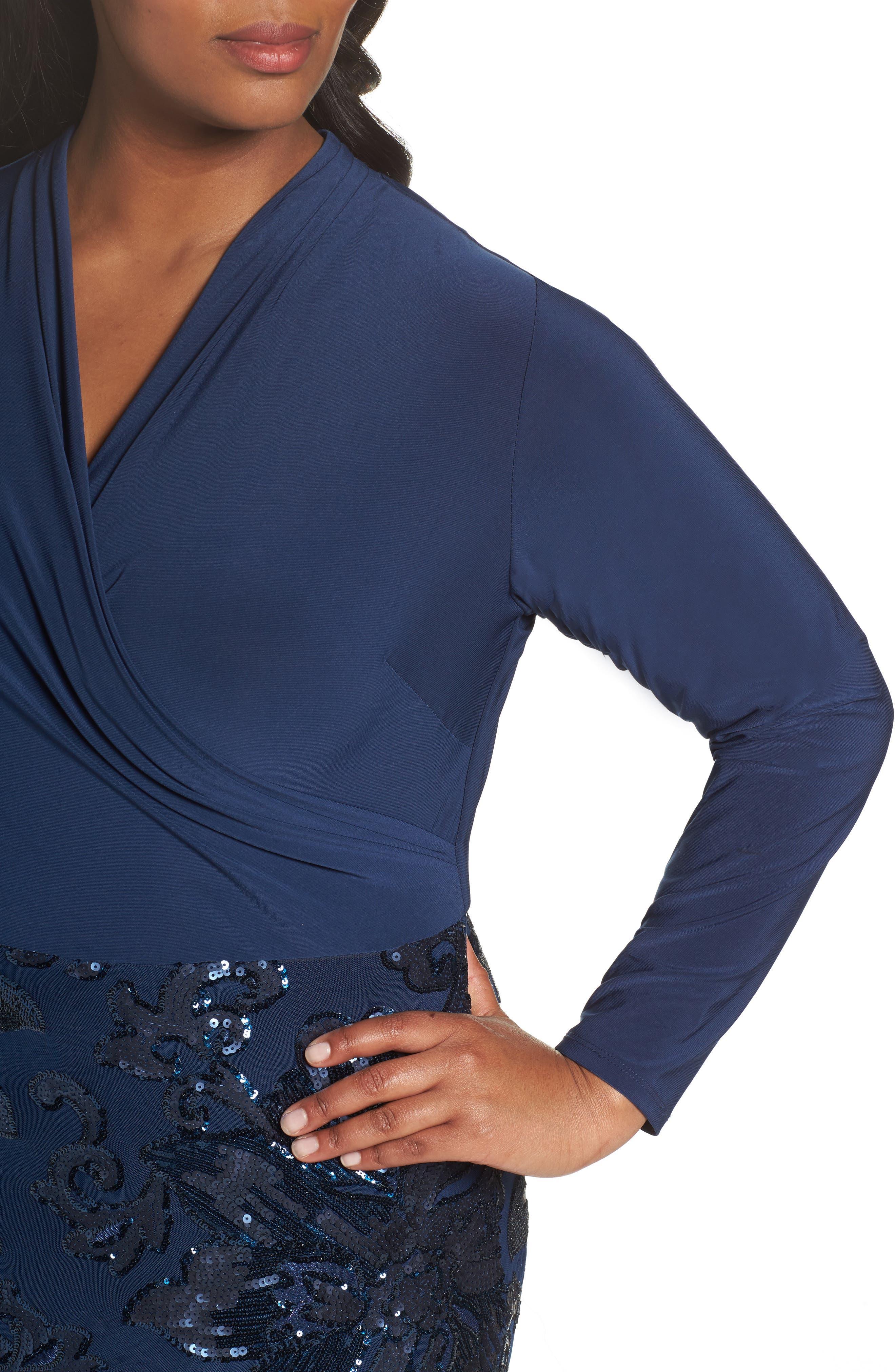 Sequin Faux Wrap Sheath Dress,                             Alternate thumbnail 4, color,                             410