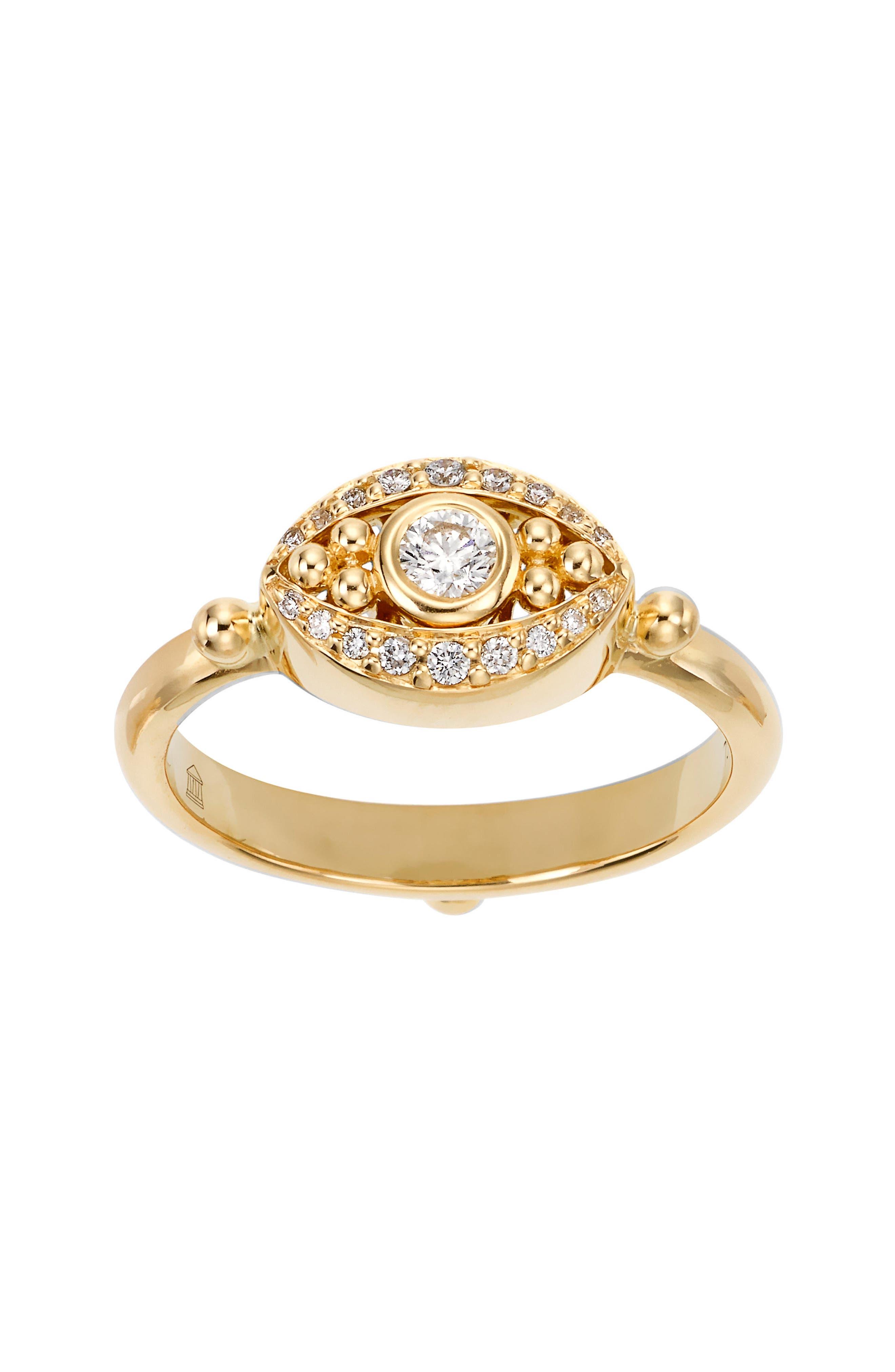 Temple St. Clair Diamond Evil Eye Ring,                             Main thumbnail 1, color,                             YELLOW GOLD