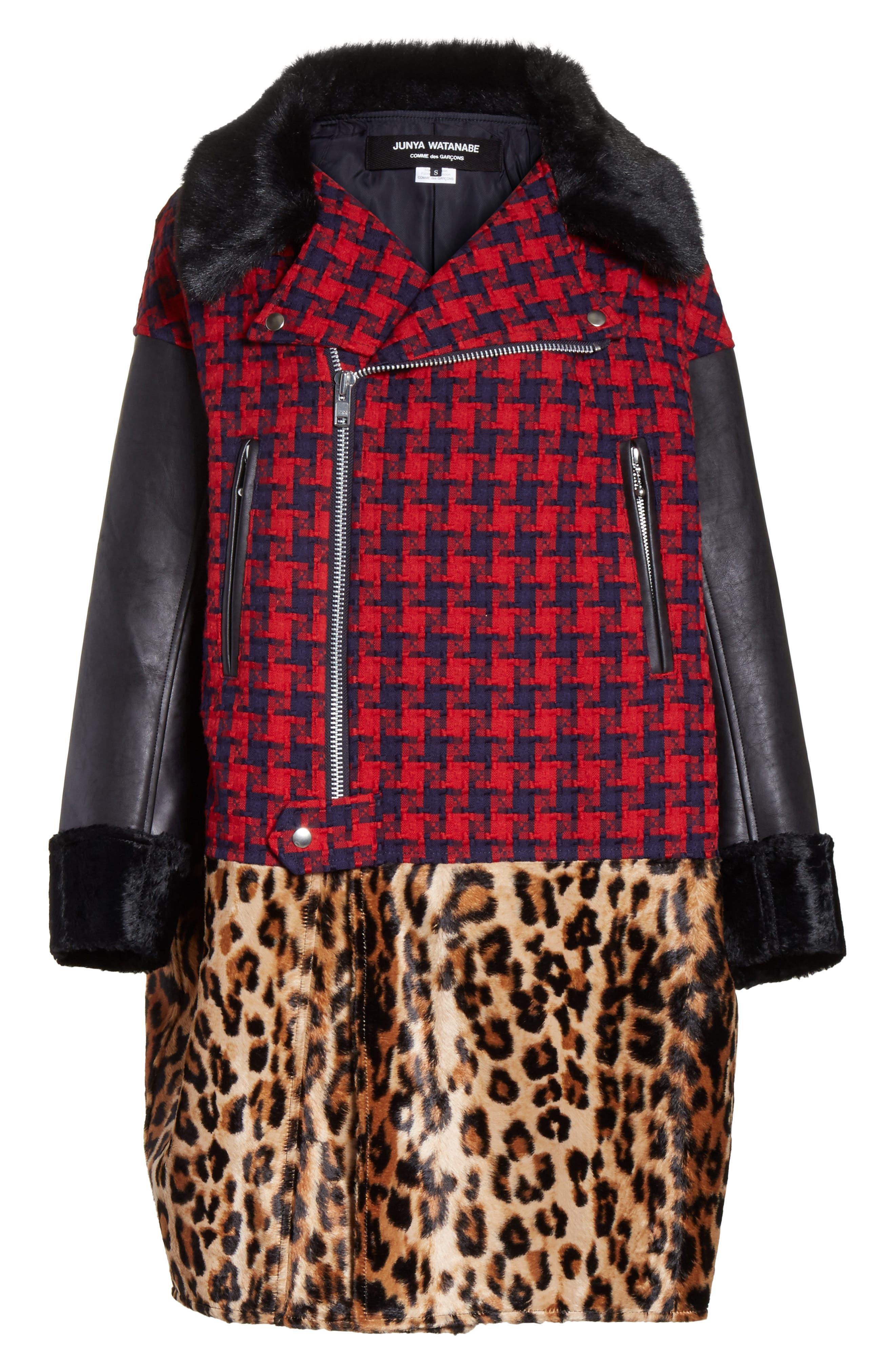 Buffalo Check Moto Jacket with Faux Fur Trim,                             Alternate thumbnail 5, color,                             640