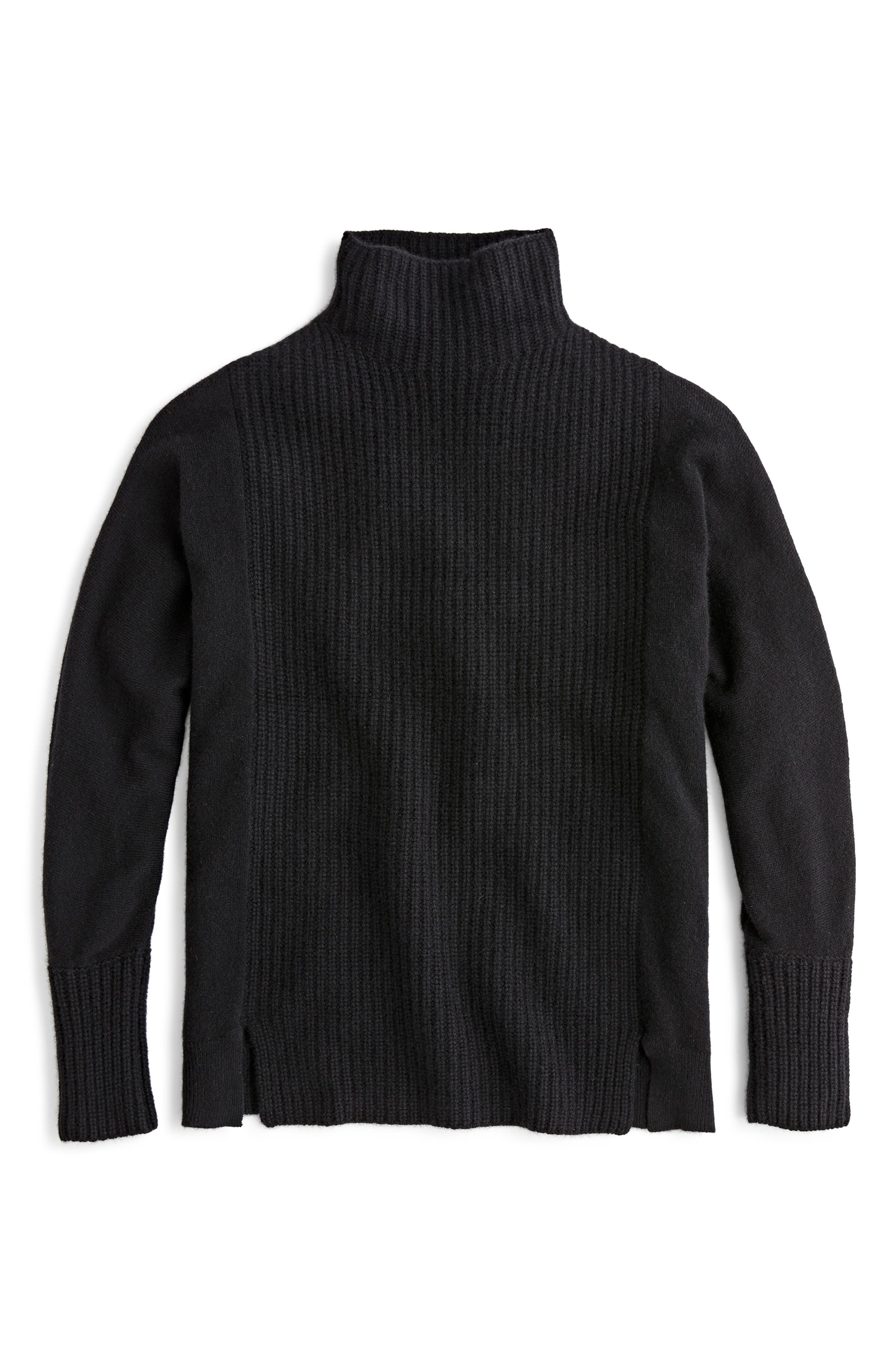 J.CREW,                             Mock Neck Cashmere Sweater,                             Main thumbnail 1, color,                             BLACK
