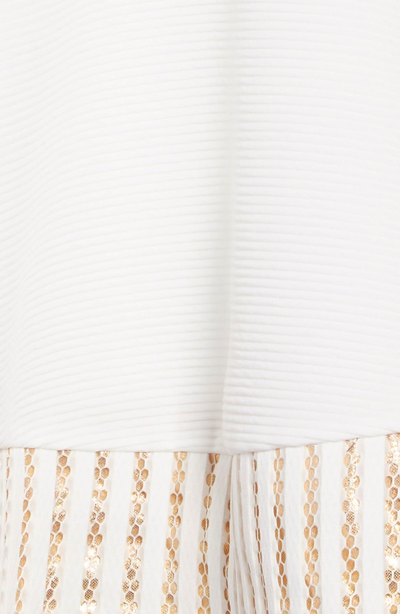 Metallic Trim Ribbed Skater Dress,                             Alternate thumbnail 3, color,                             WHITE/GOLD