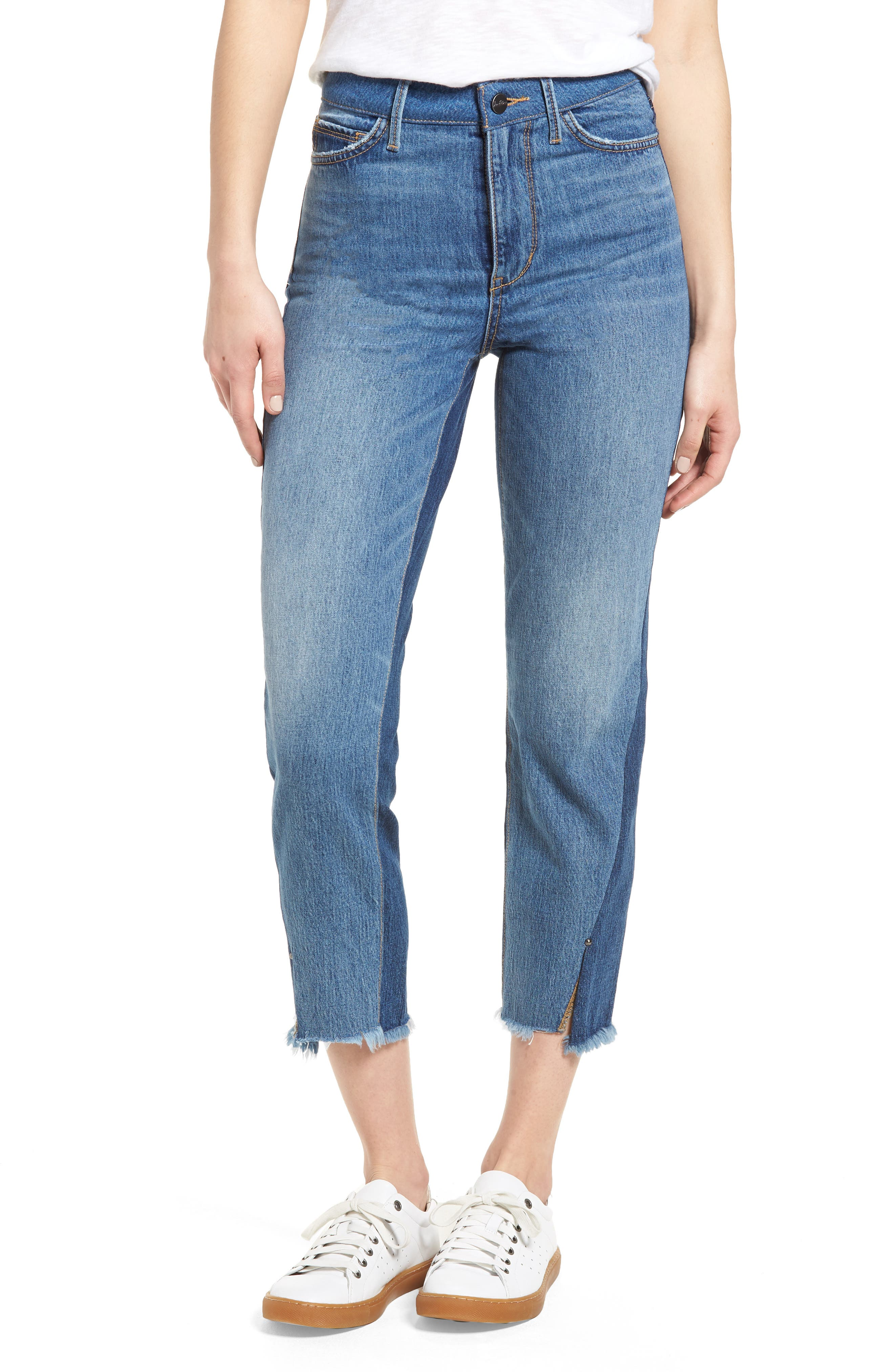 The Mary Jane Fringe Hem Contrast Jeans,                         Main,                         color, 410