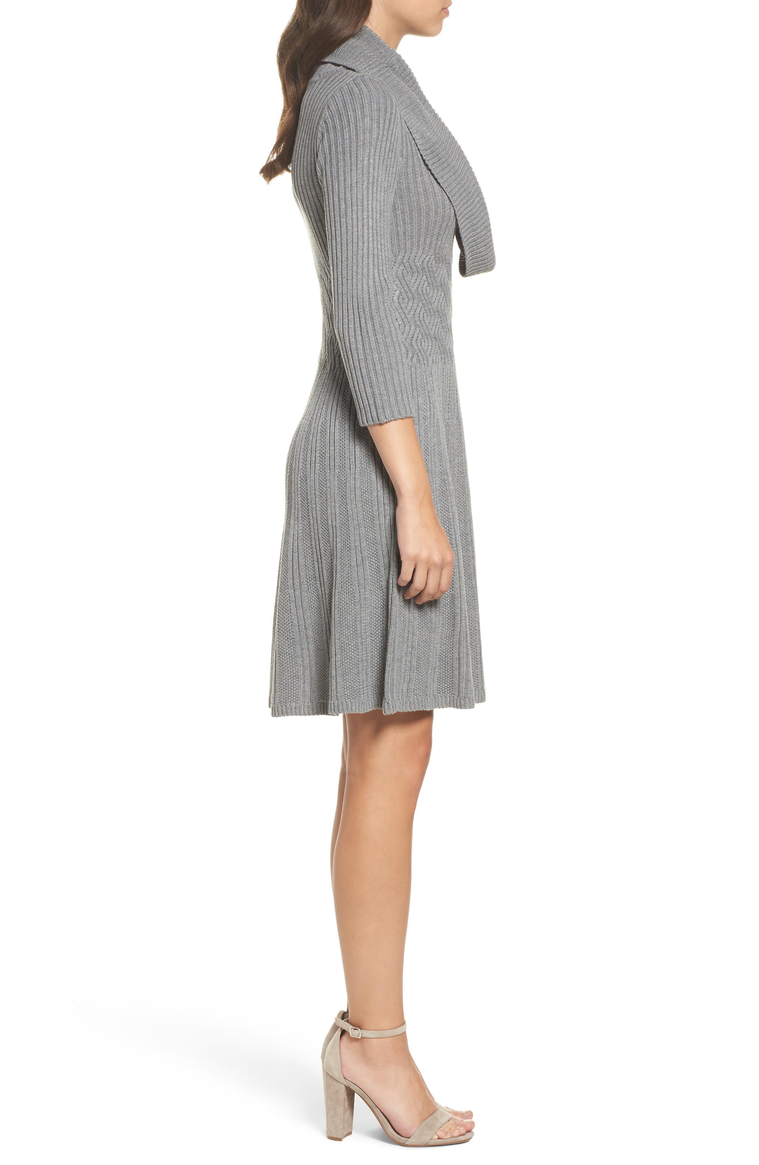 Cowl Neck Sweater Dress,                             Alternate thumbnail 3, color,                             030