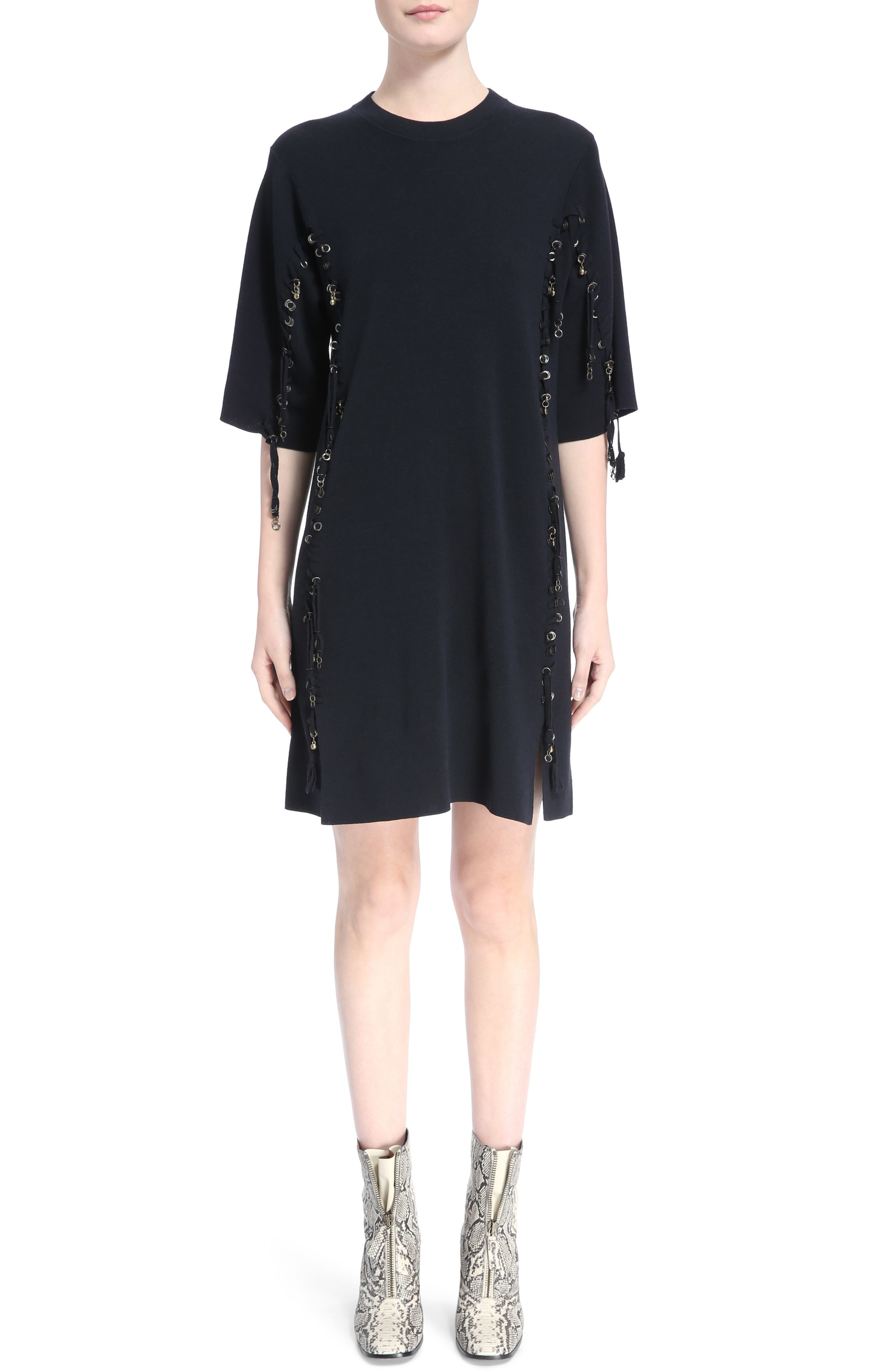 Laced Grommet Wool Dress,                         Main,                         color, 410
