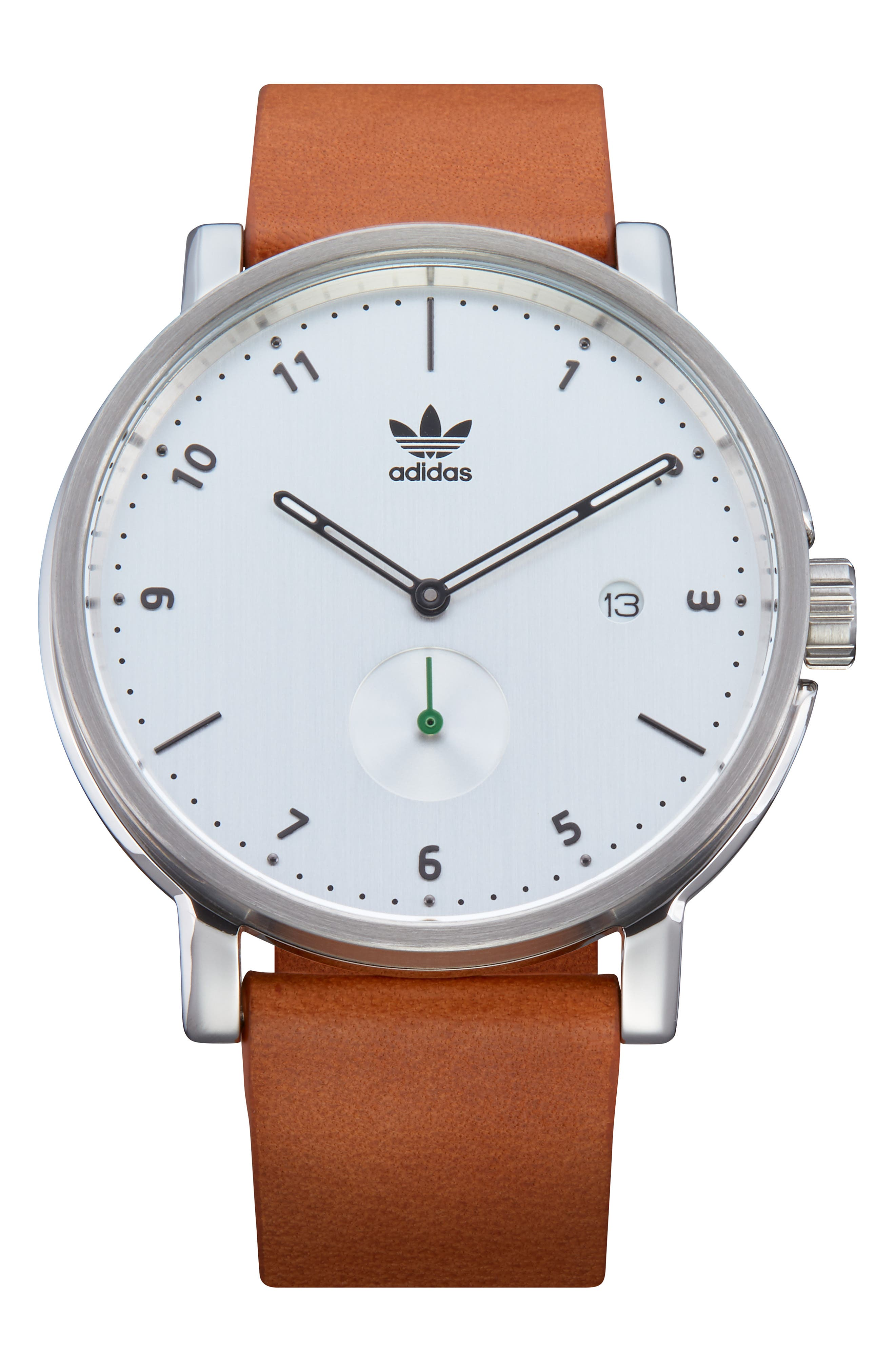 District Leather Strap Watch, 40mm,                         Main,                         color, TAN/ SILVER