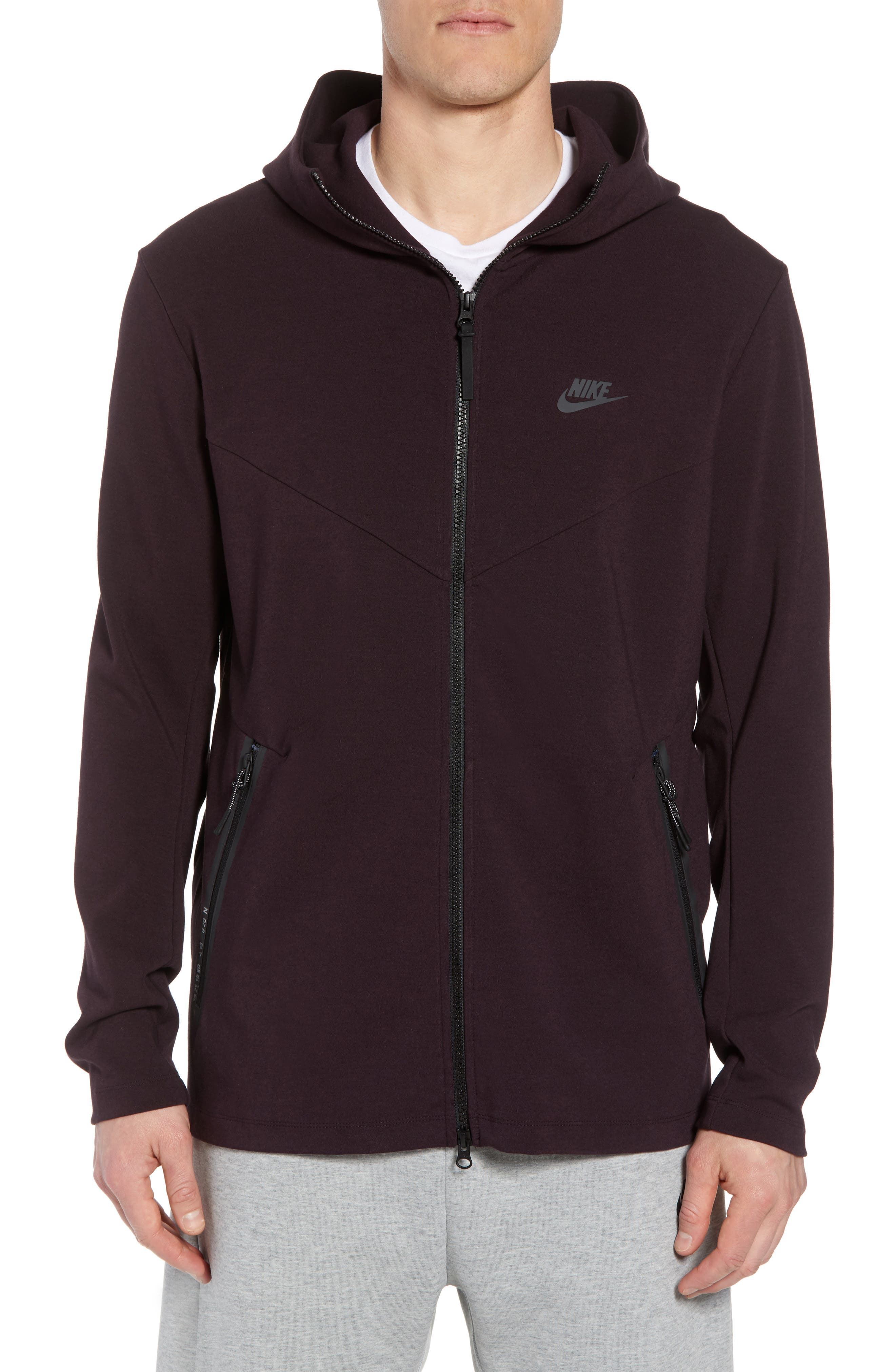 Sportswear Tech Full Zip Hoodie,                             Main thumbnail 1, color,                             BLACK/ BLACK