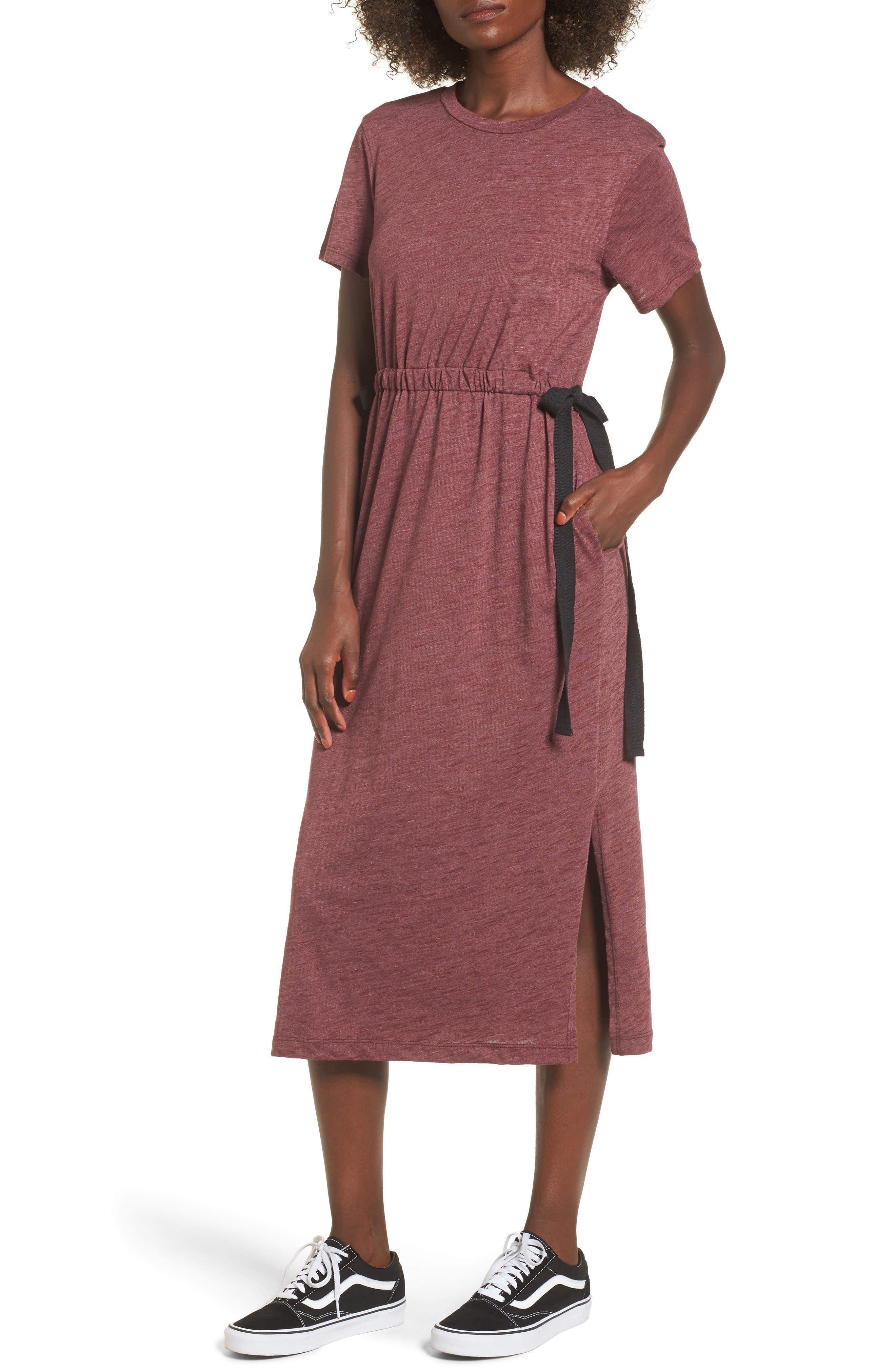 Side Tie Midi T-Shirt Dress,                             Main thumbnail 3, color,