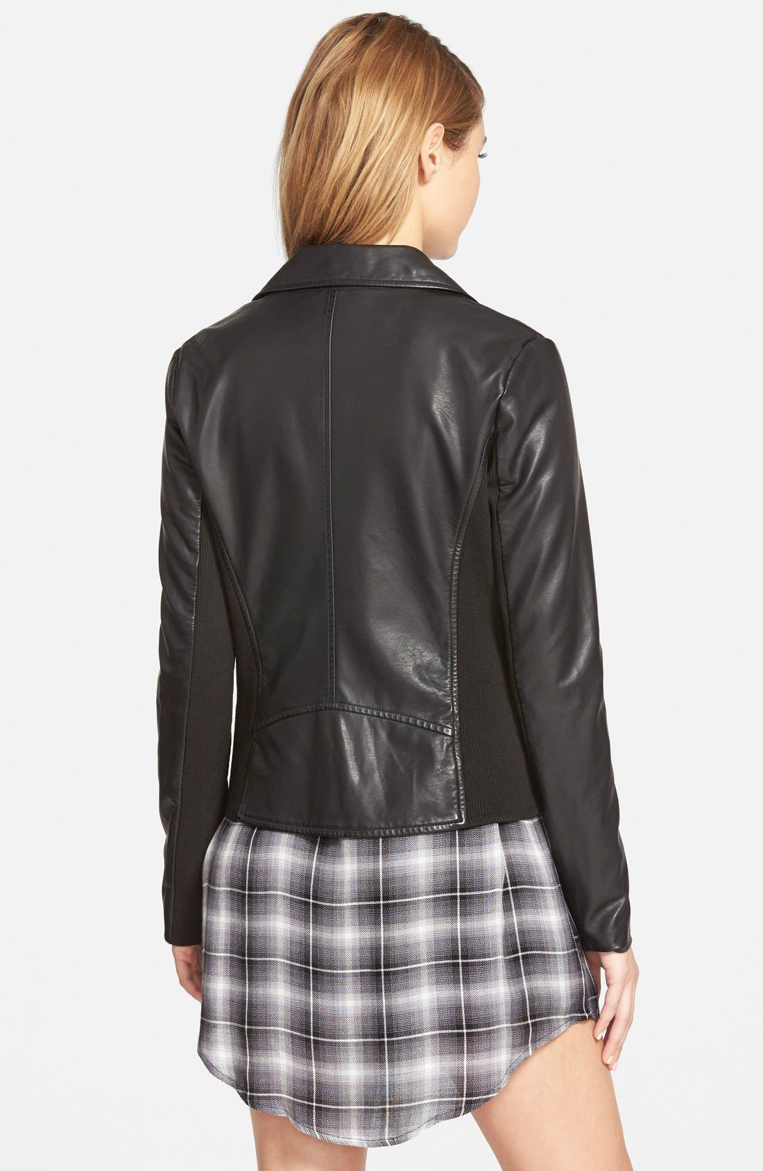 CUPCAKES AND CASHMERE,                             'Union' Faux Leather Biker Jacket,                             Alternate thumbnail 3, color,                             001