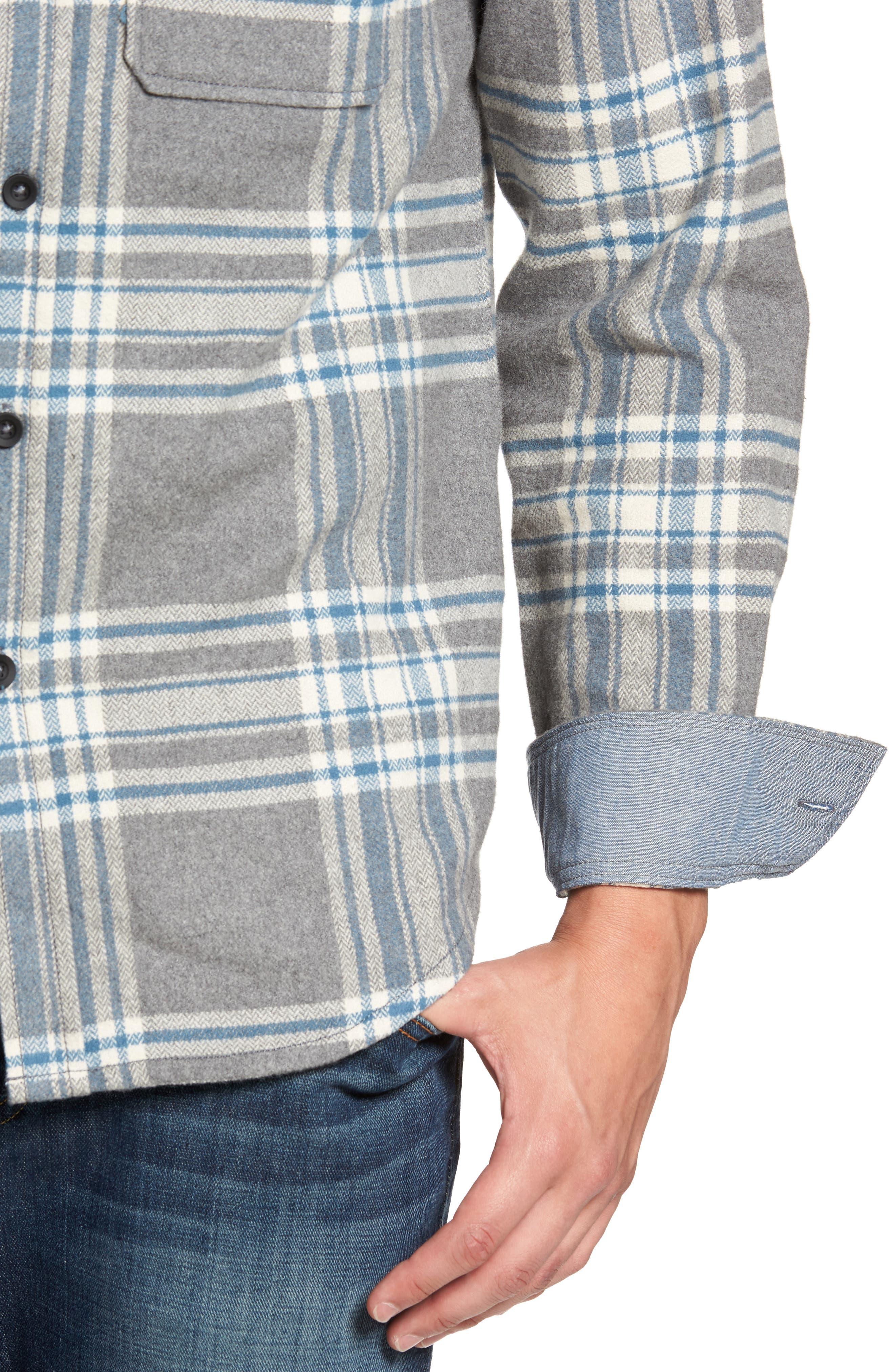 Marin Herringbone Plaid Flannel Shirt,                             Alternate thumbnail 4, color,                             035