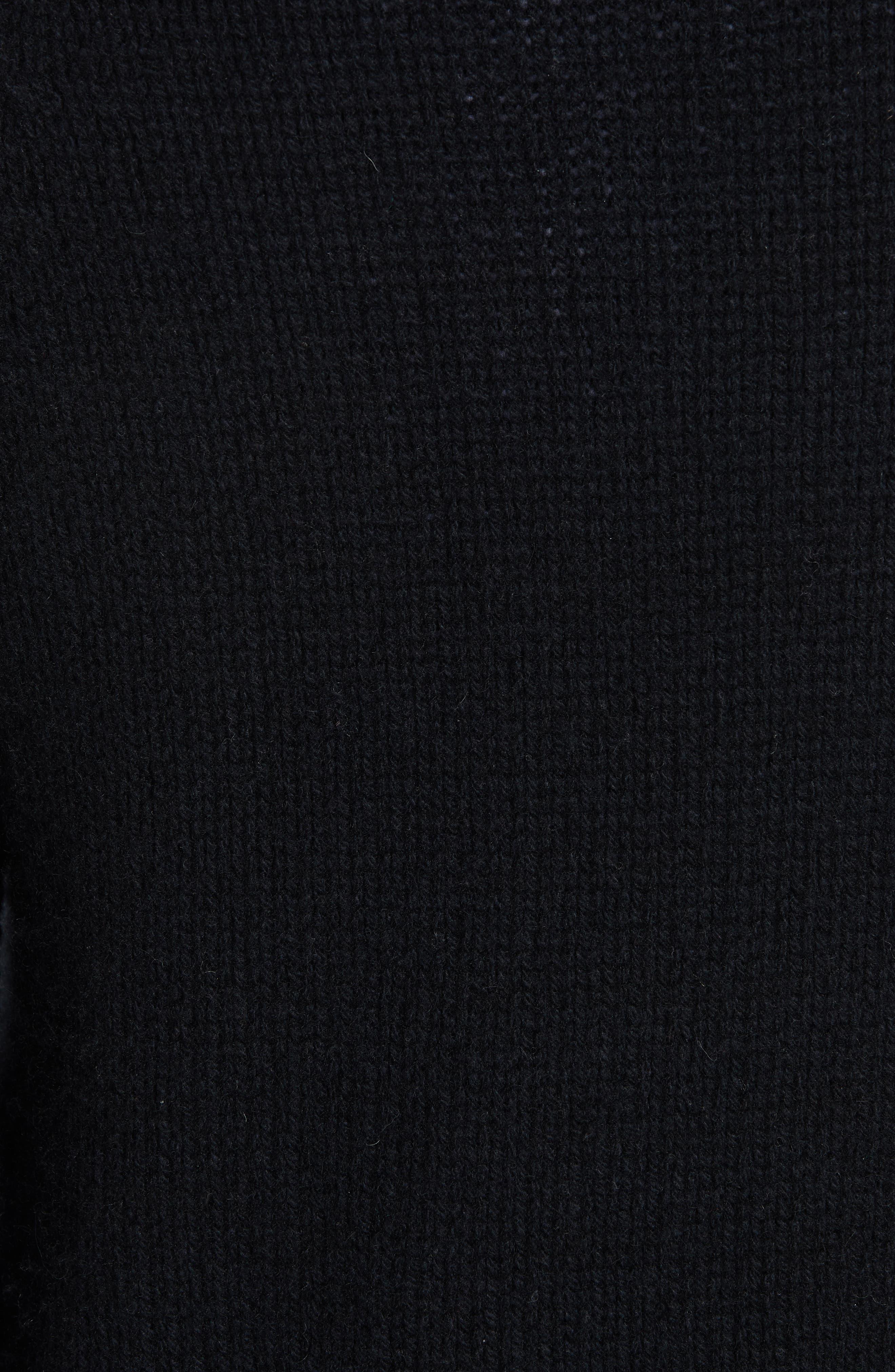 Shrunken Cashmere Sweater,                             Alternate thumbnail 5, color,                             BLACK