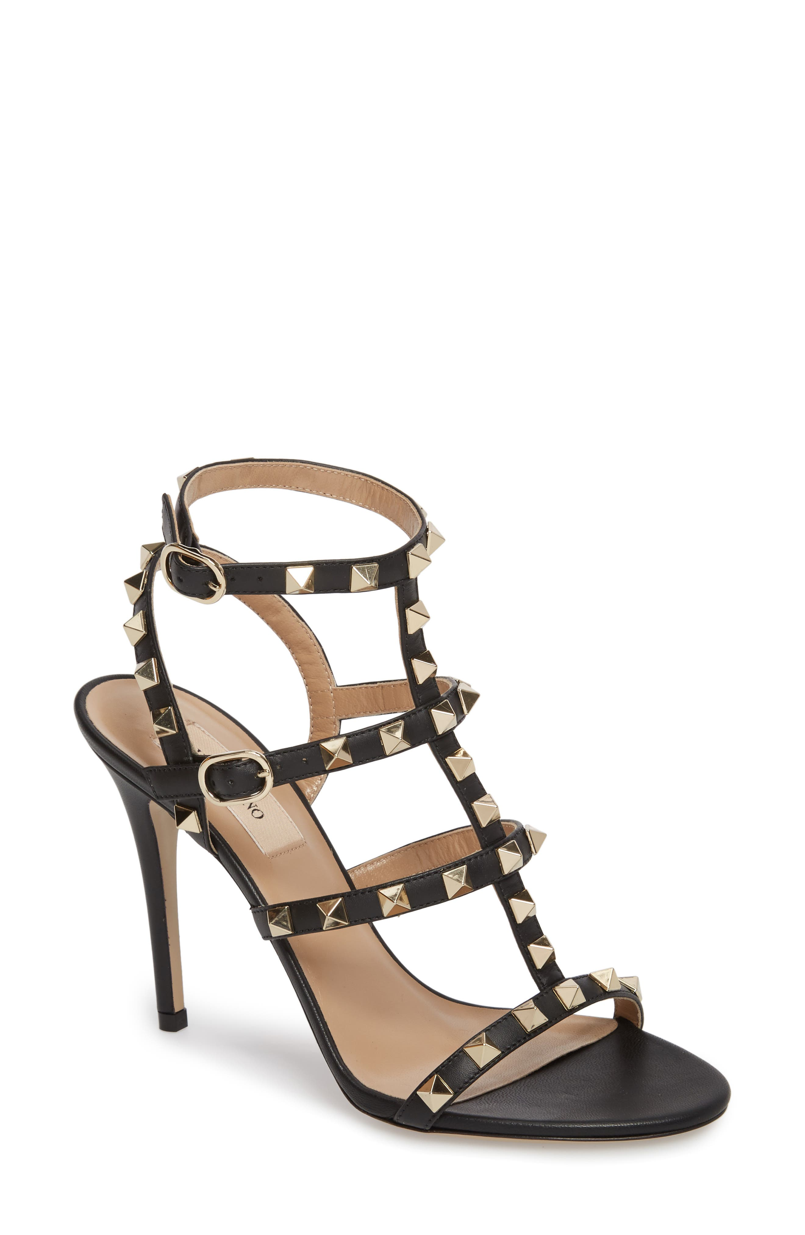 'Rockstud' Ankle Strap Sandal,                             Main thumbnail 1, color,                             001