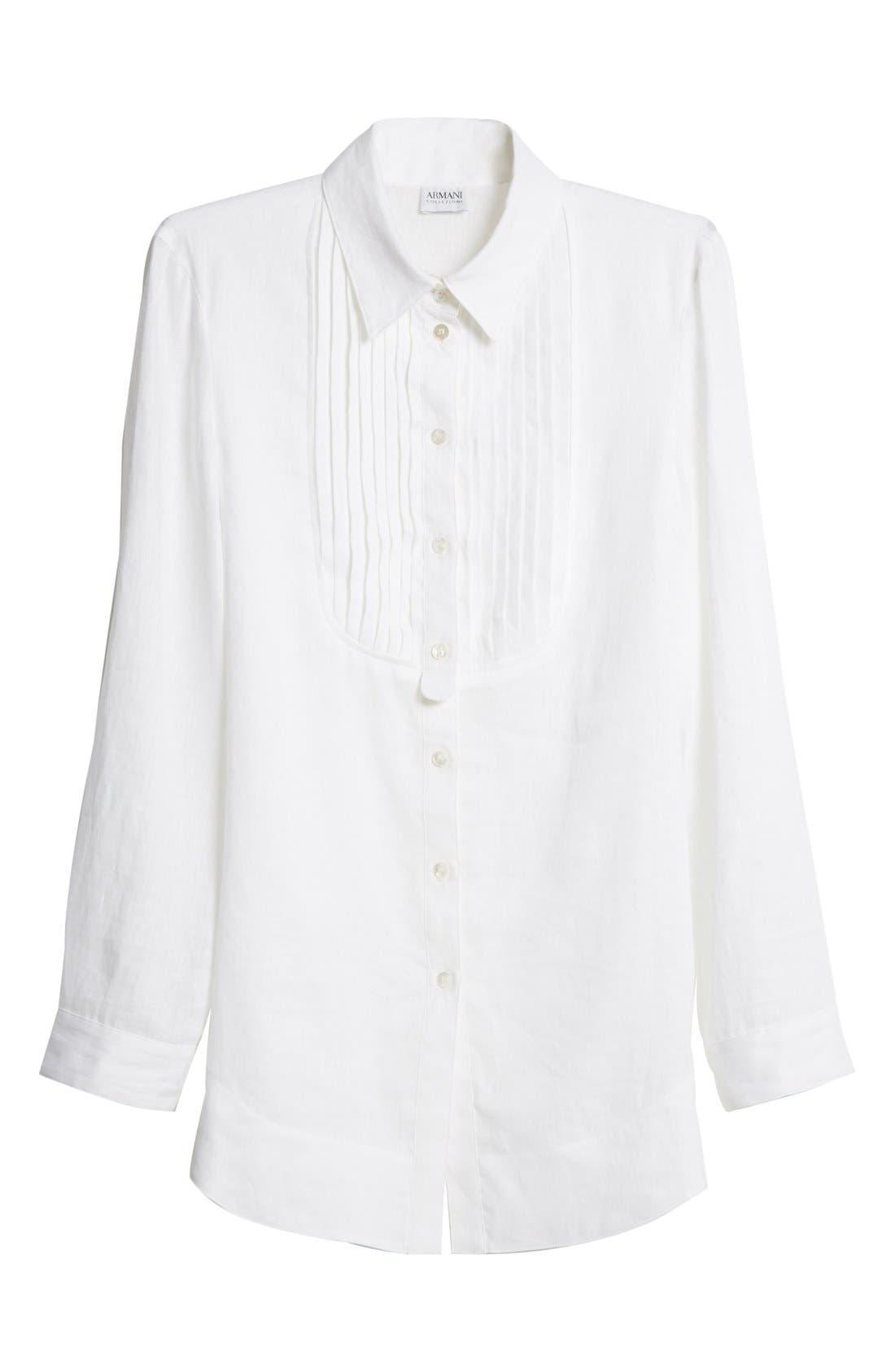 ARMANI COLLEZIONI,                             Linen Tuxedo Shirt,                             Alternate thumbnail 5, color,                             100