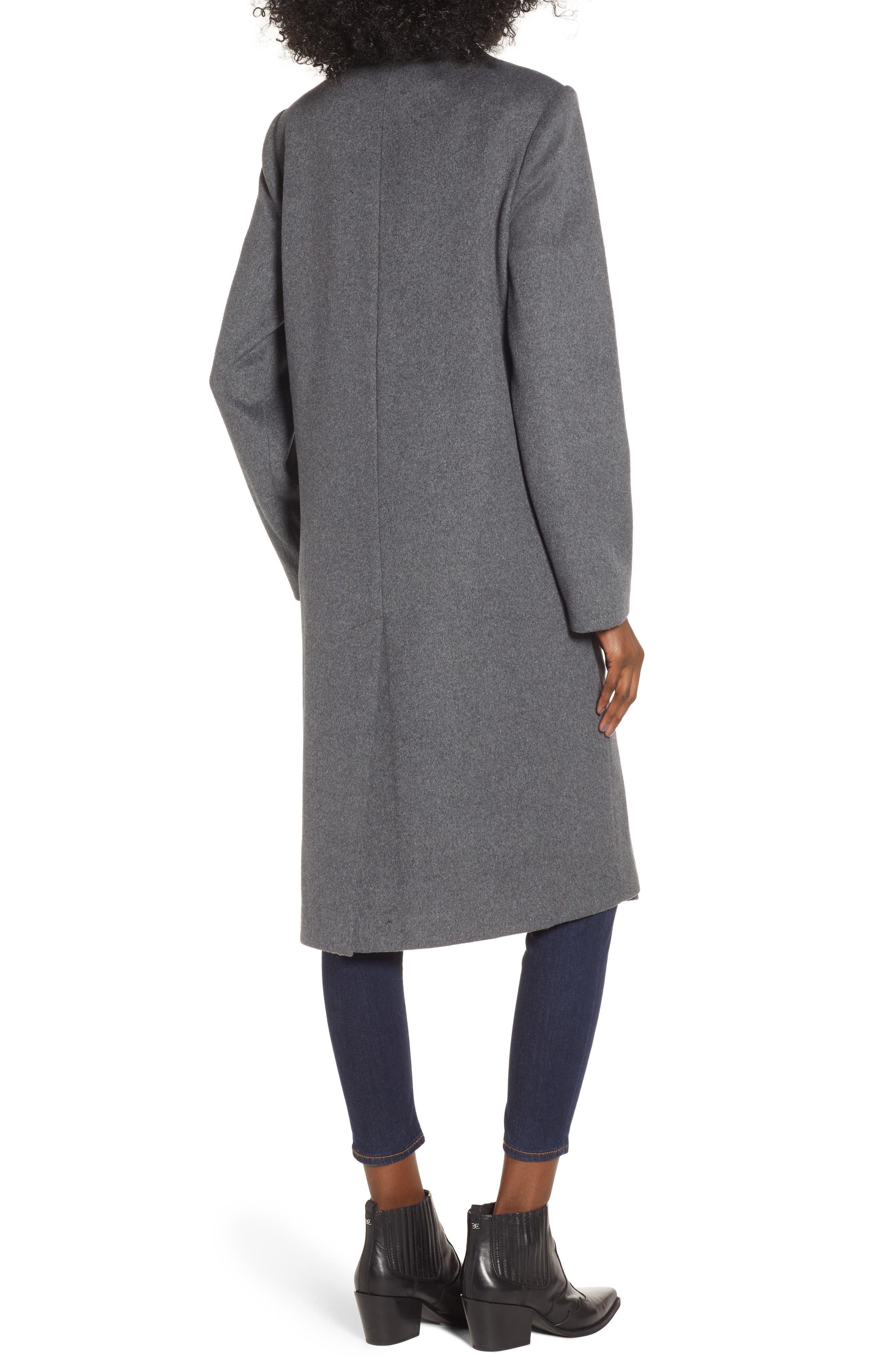 MURAL,                             Long Open Front Coat,                             Alternate thumbnail 2, color,                             CHARCOAL GREY