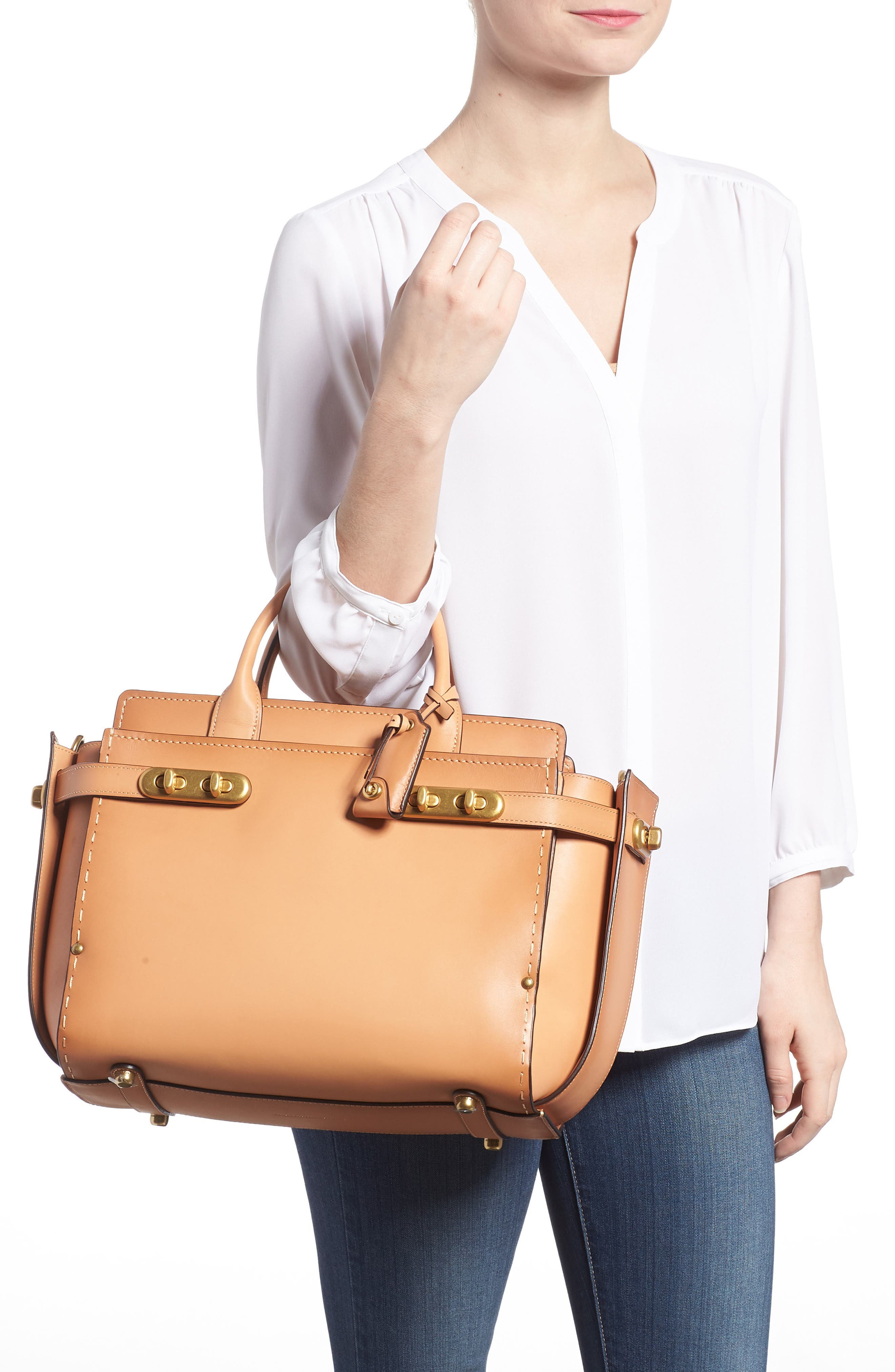 Double Swagger Leather Satchel,                             Alternate thumbnail 2, color,