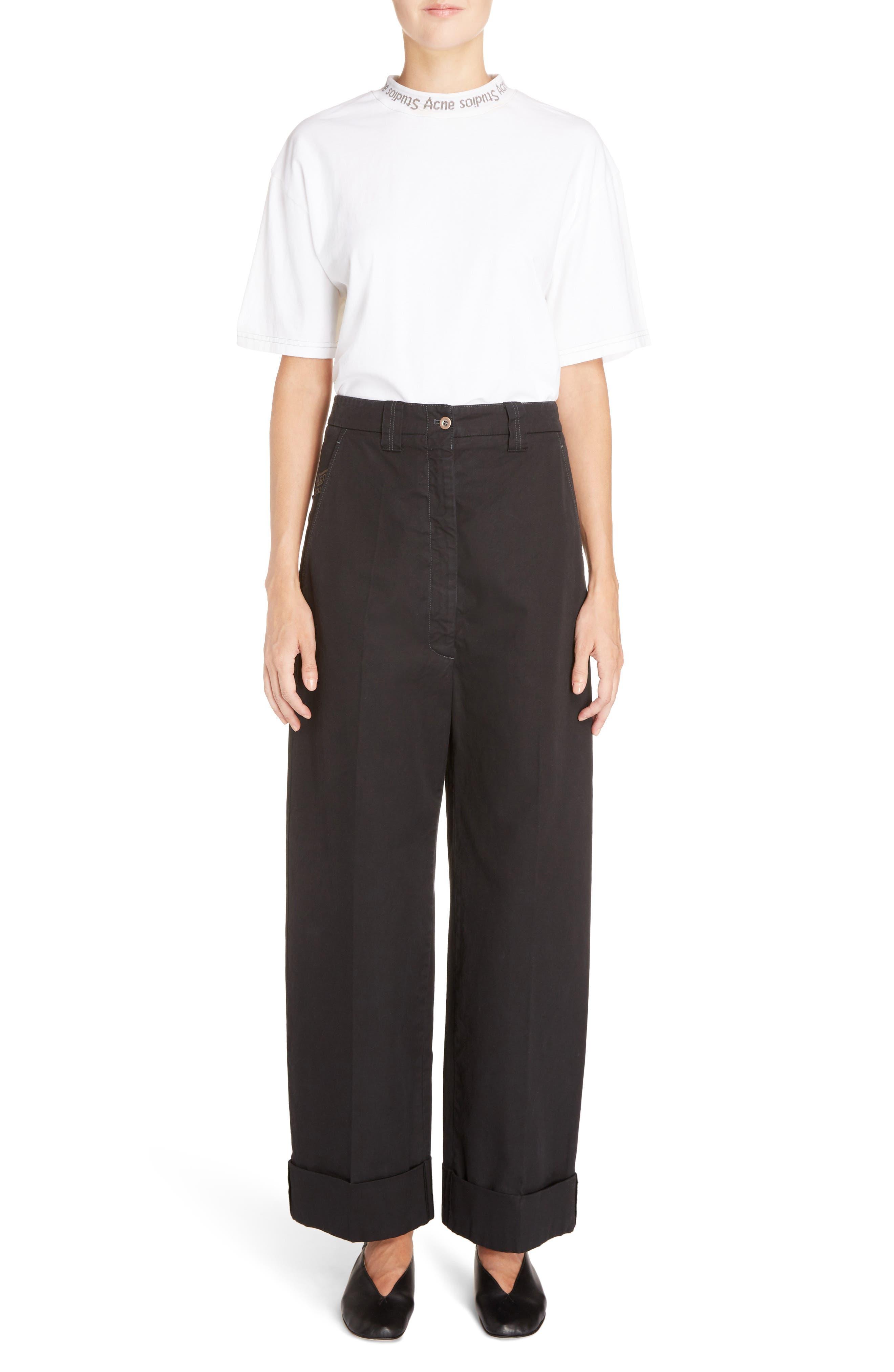Madya Cuffed Cotton Pants,                             Alternate thumbnail 6, color,                             001