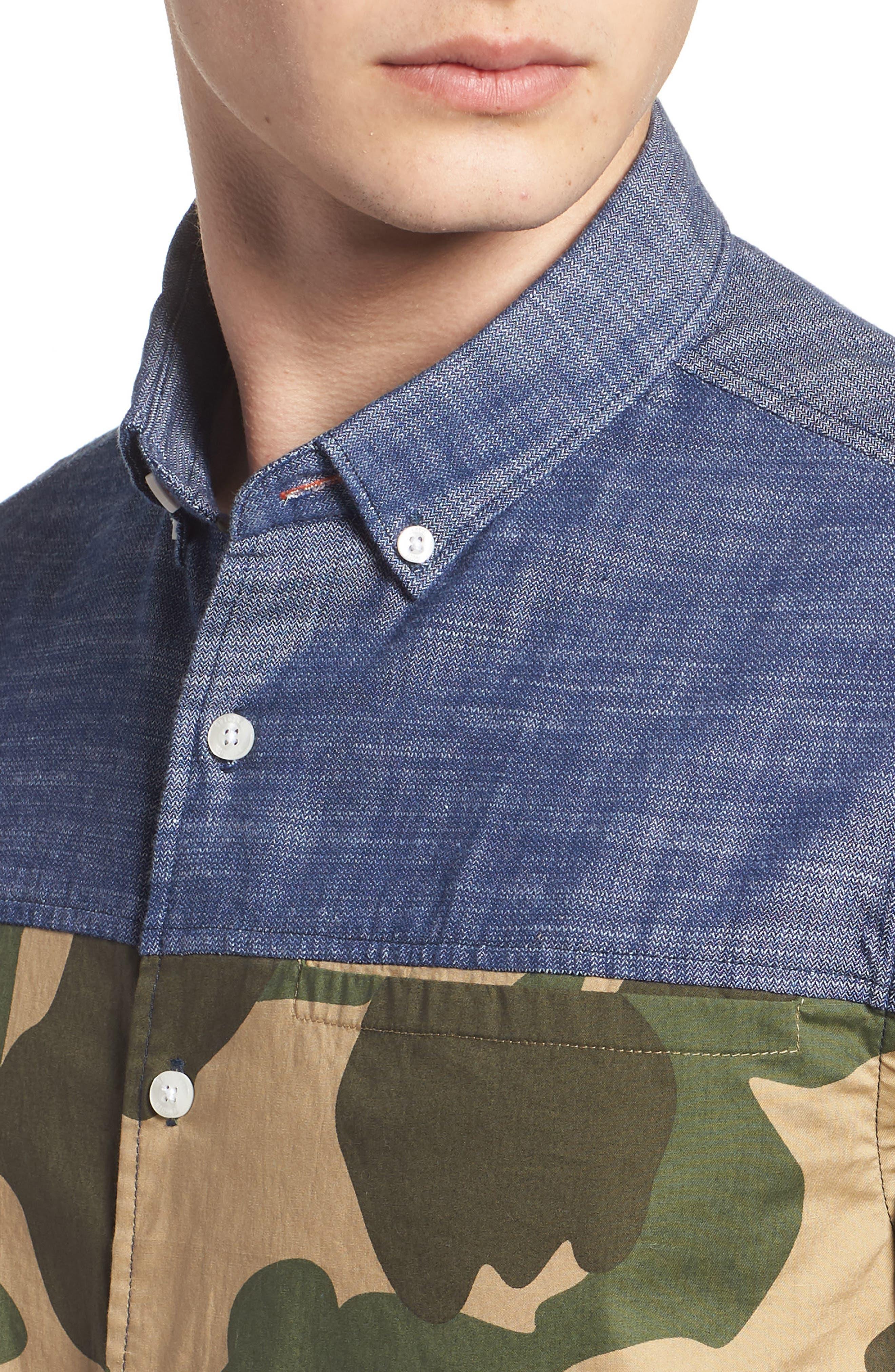 Pieced Camo Shirt,                             Alternate thumbnail 4, color,                             DARK SAPPHIRE