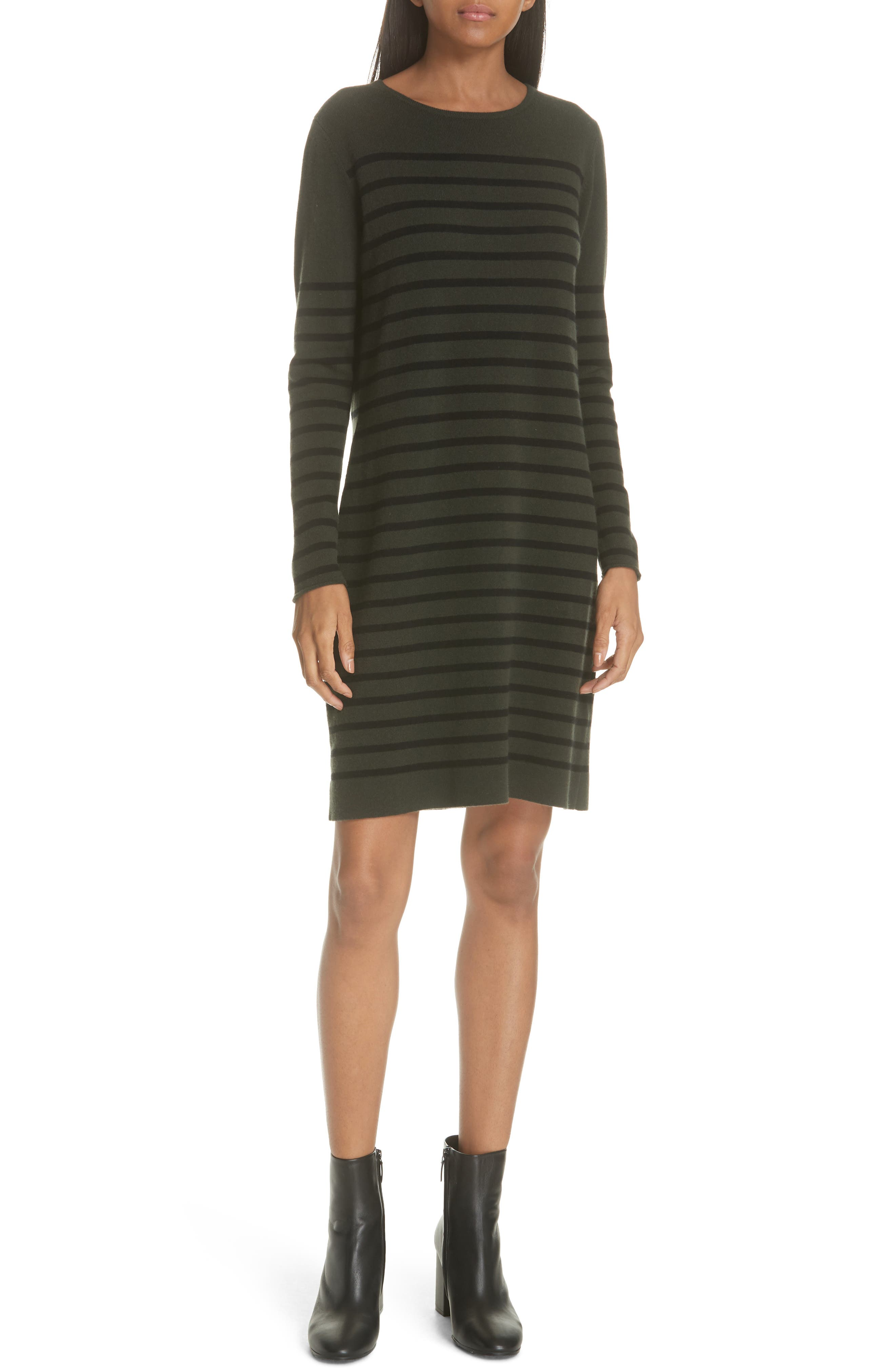 Stripe Wool & Cashmere Sweater Dress,                             Alternate thumbnail 5, color,                             NAVY/ BLACK